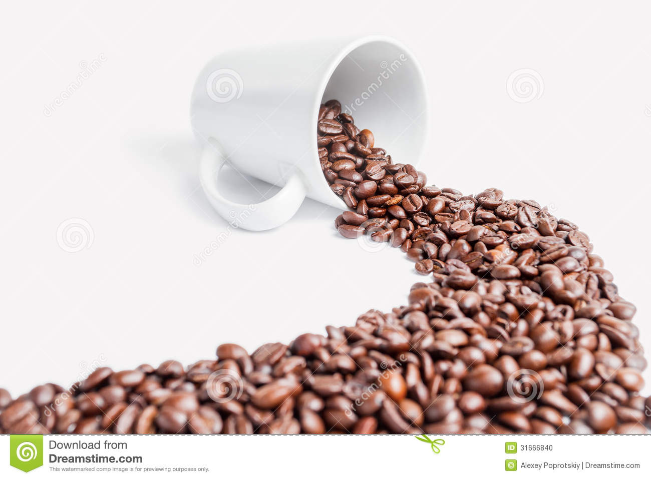 path coffee beans on a white background stock photo
