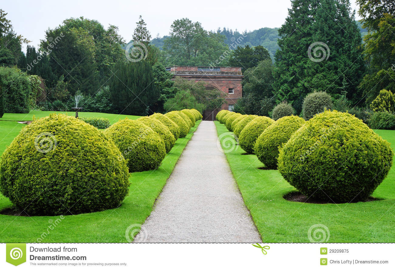 path through a formal english garden stock image