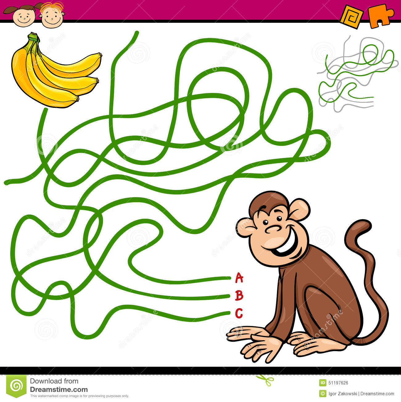 Maze Game Preschool Children Monkey Stock Illustrations – 79 Maze ...