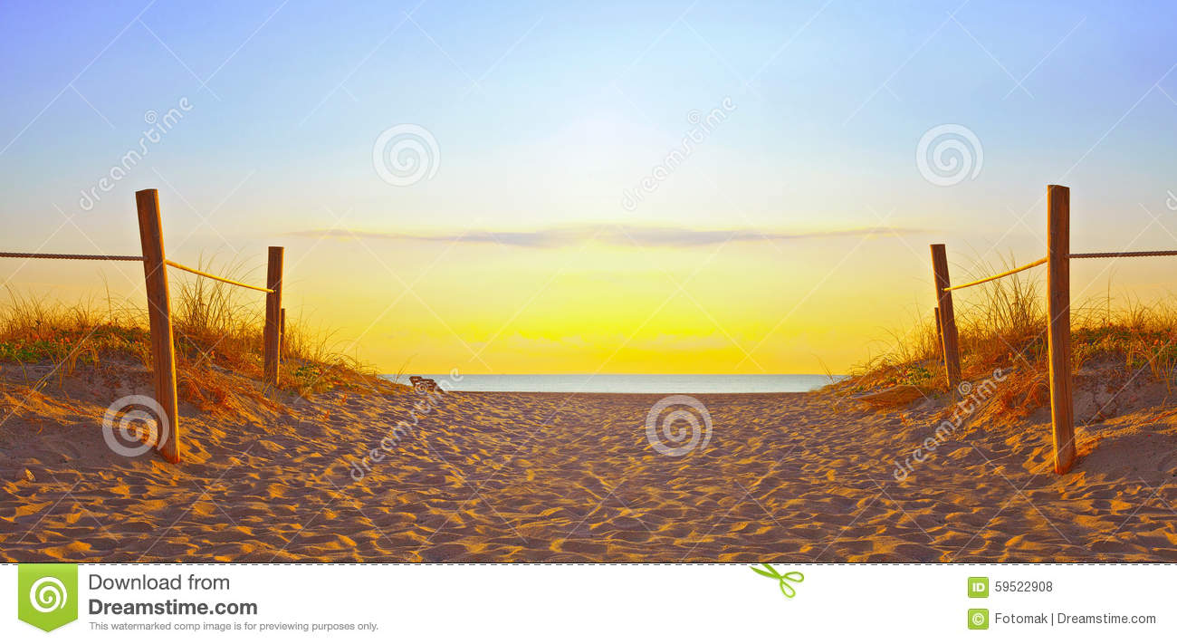 path on the sand going to the ocean in miami beach stock Lifeguard Chair Clip Art Lifeguard Tower Drawings
