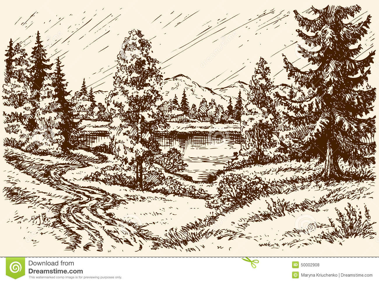 Path to the lake. Vector scenery