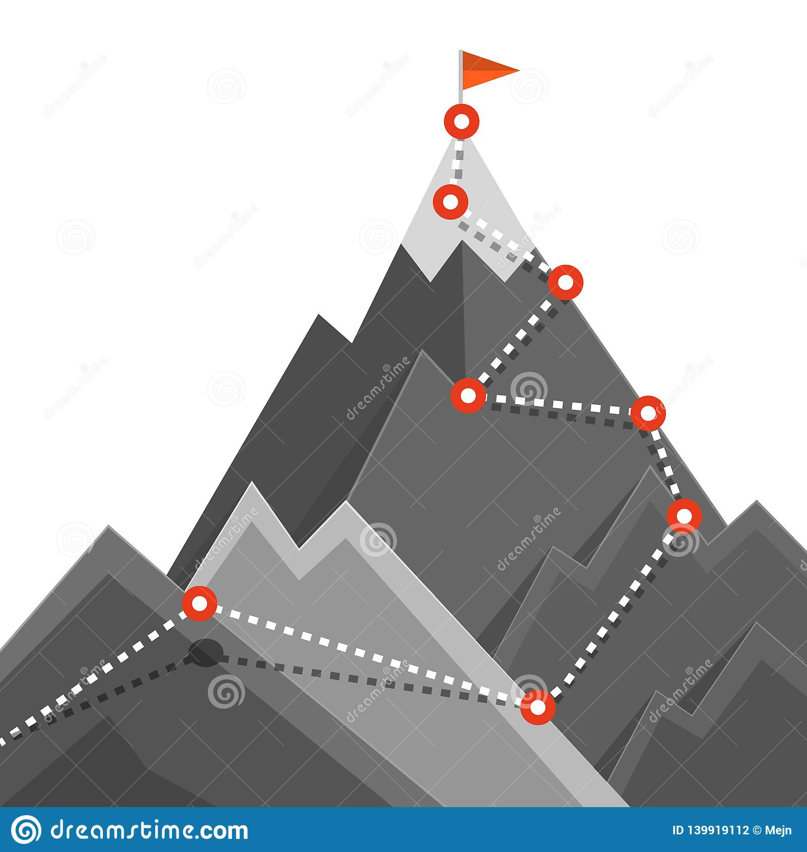 Path to Mountain Top. Success Jurney Concept.
