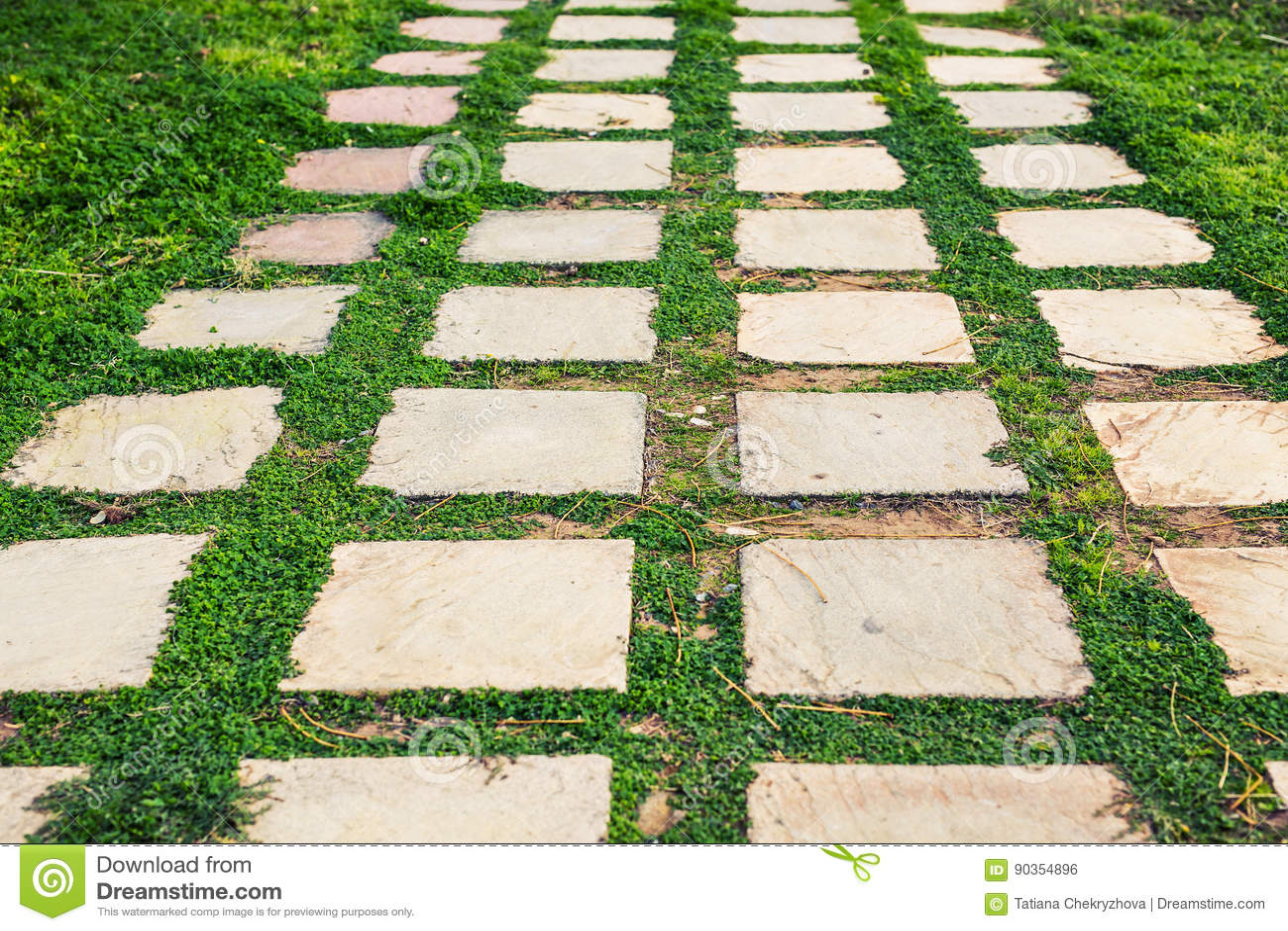 Pathway In Garden Green Lawns With Bricks Pathways Garden Landscape Design Stock Photo Image Of Green Cobblestone 90354896