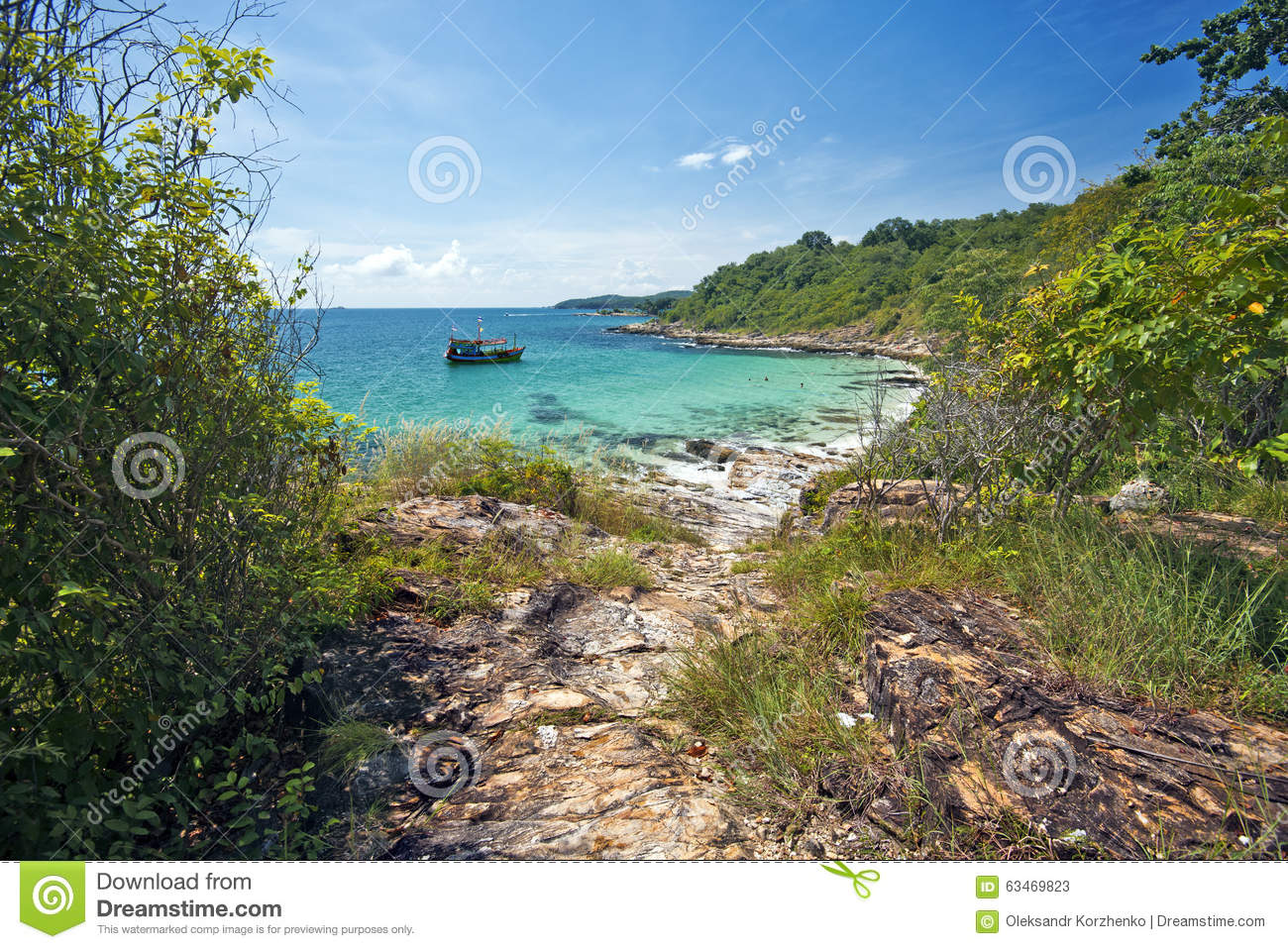 Lagoon Tropical Island: Pathway To Lonely Lagoon Of Tropical Island Stock Image
