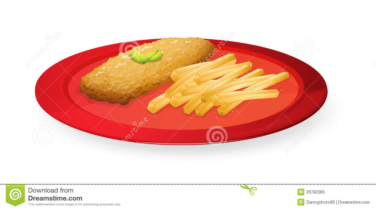 Patice And French Fries In Plate Royalty Free Stock Photo ...