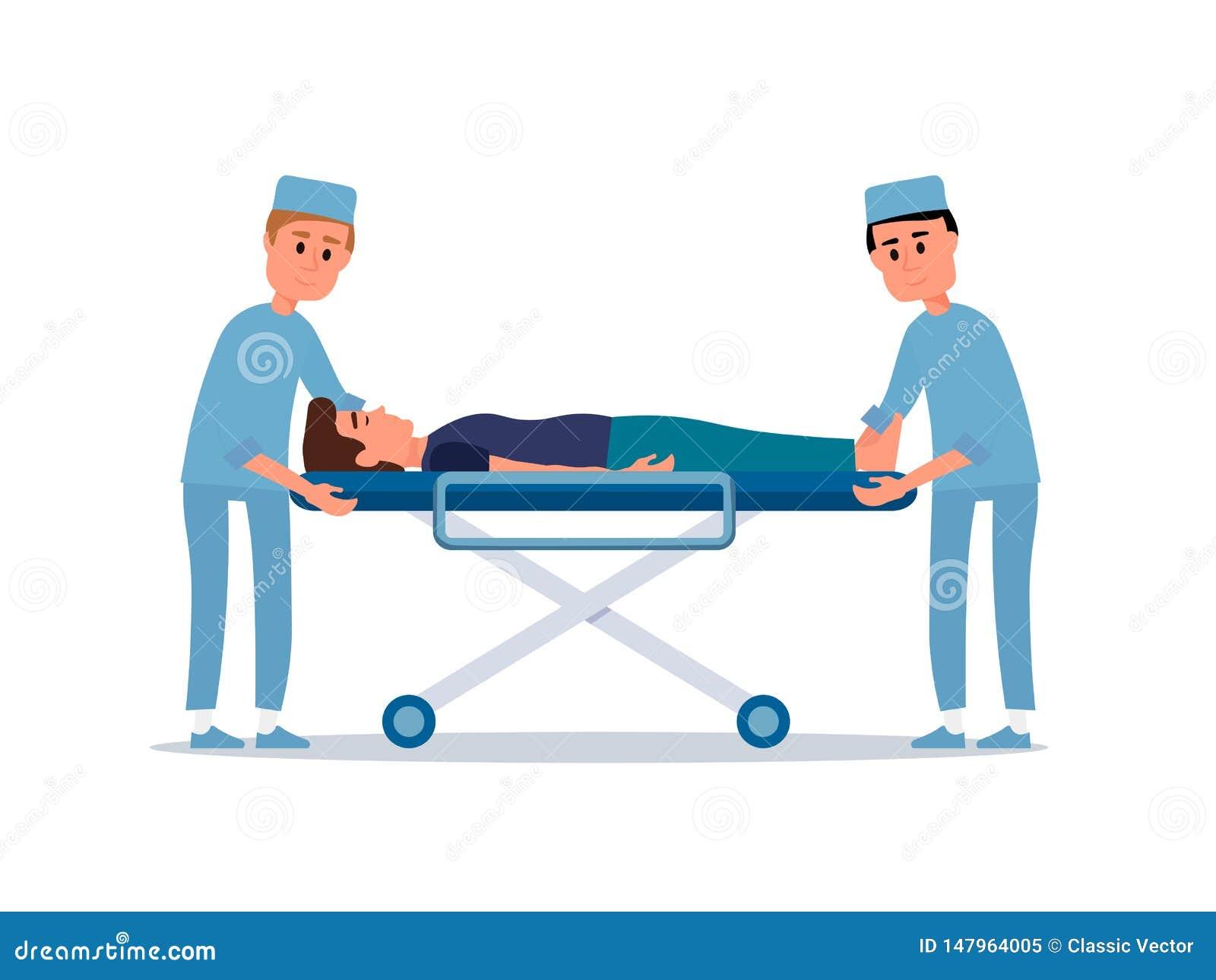 Patient auf flacher Vektorillustration der Bahre