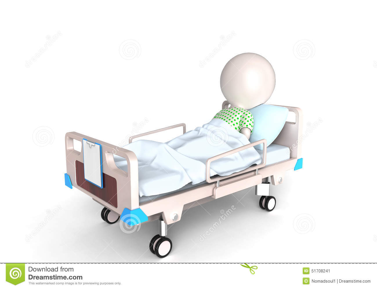 3D little person as a patient in hospital bed.