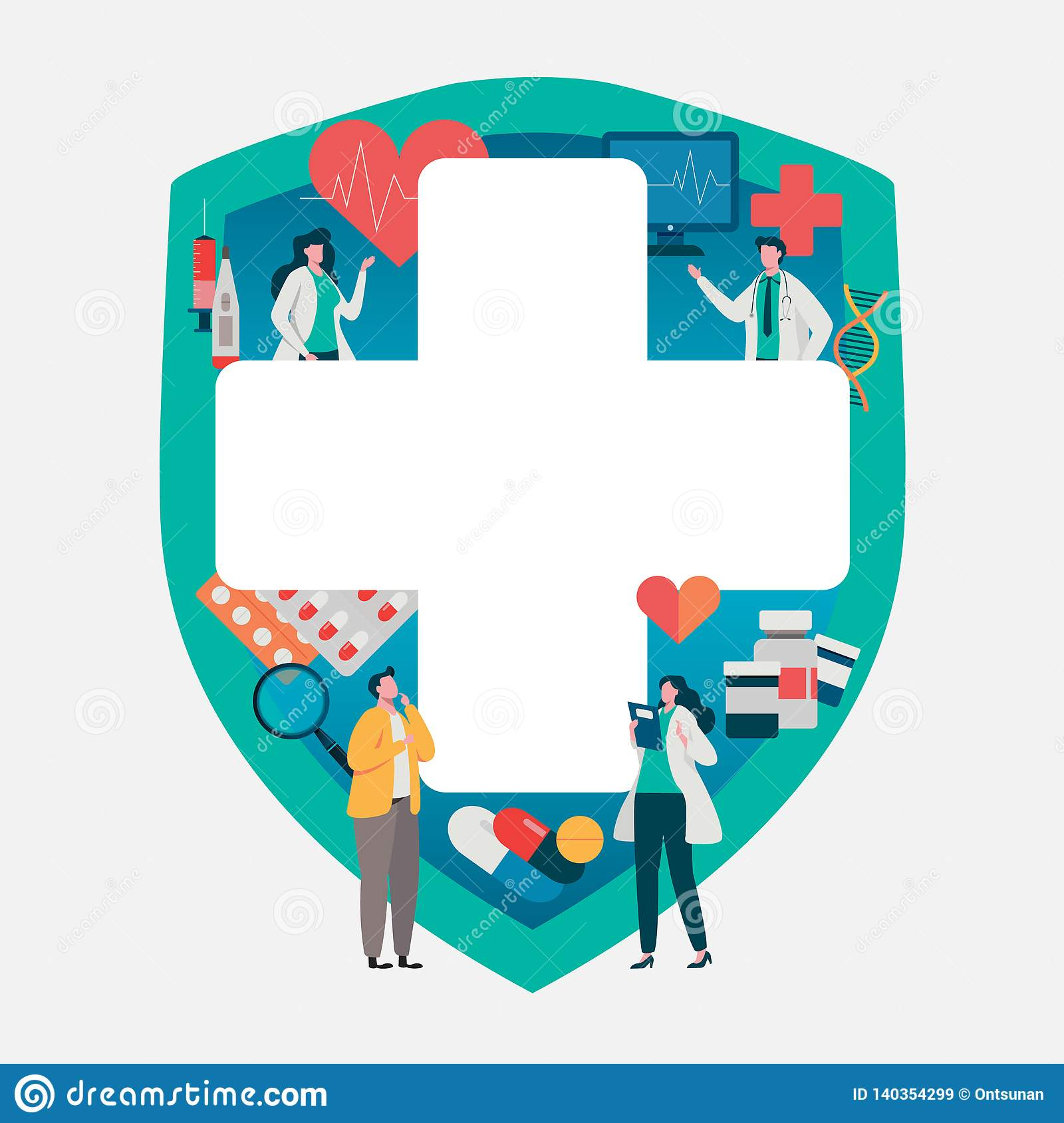Patient consultation to the doctor. Health care concept, Medical team. Healthy Application. Flat vector illustration