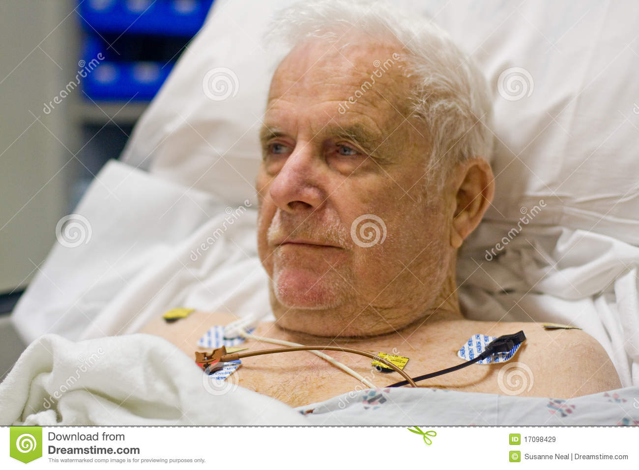 Patient hooked up to EKG monitor