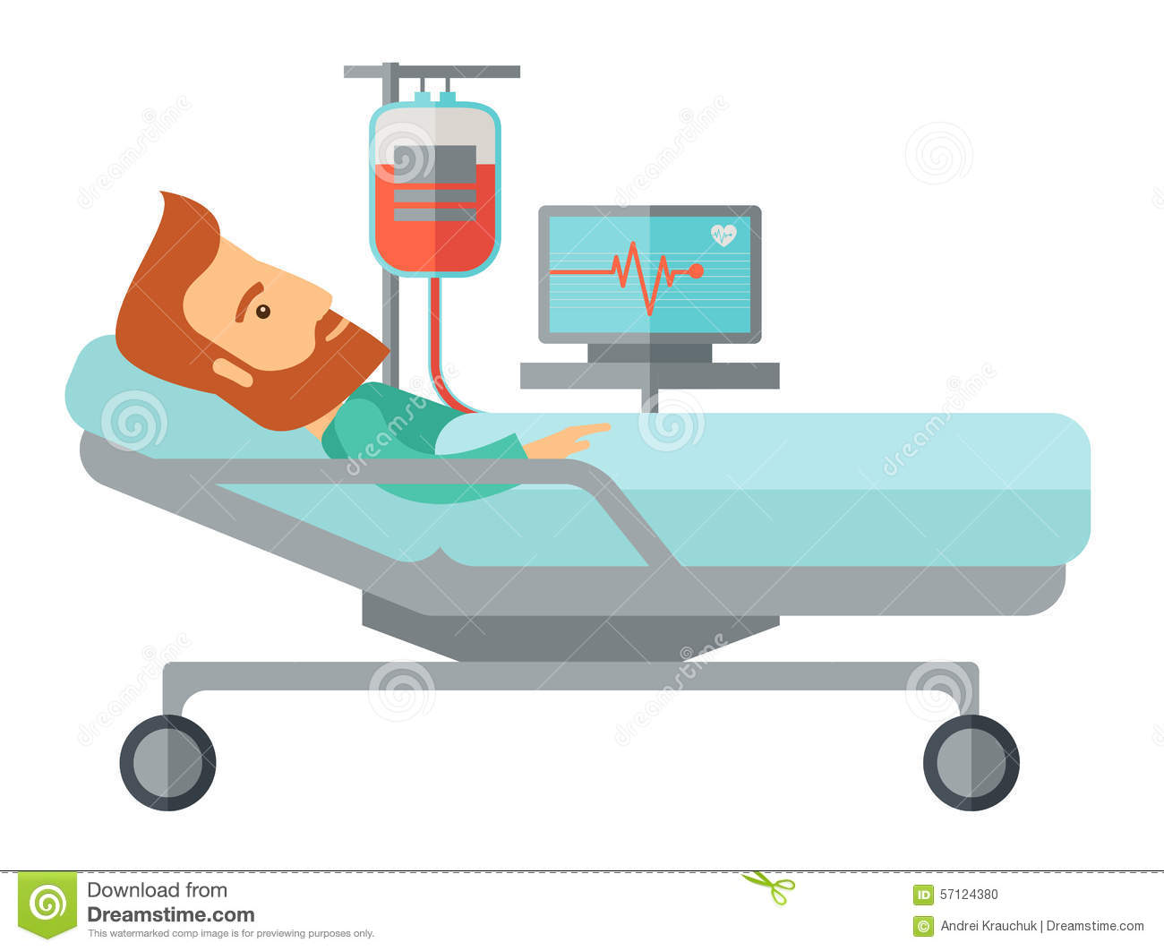 Patient In Hospital Bed Being Monitored Stock Vector