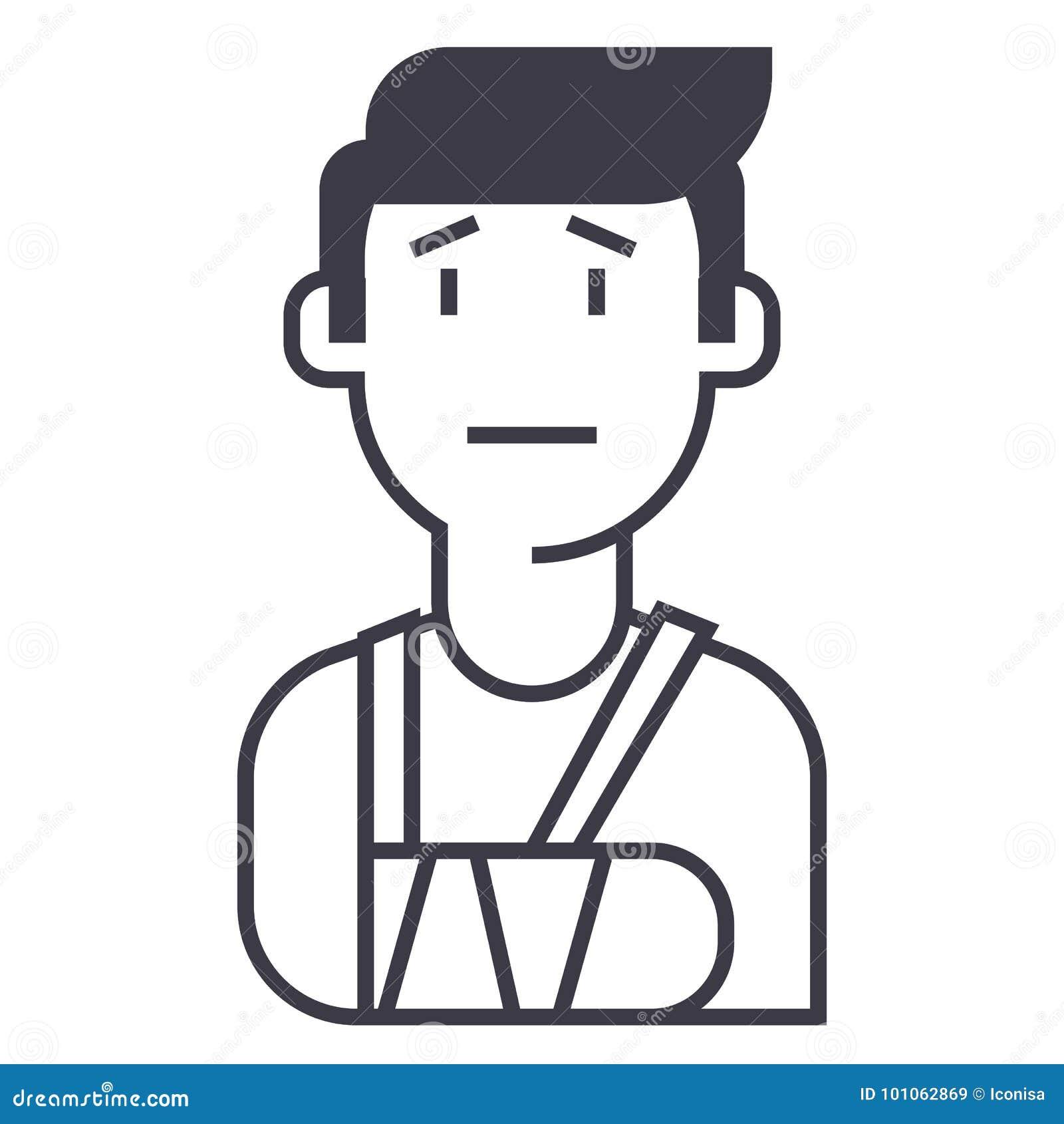 Patient, ligne cassée icône, signe, illustration de vecteur de main sur le fond, courses editable