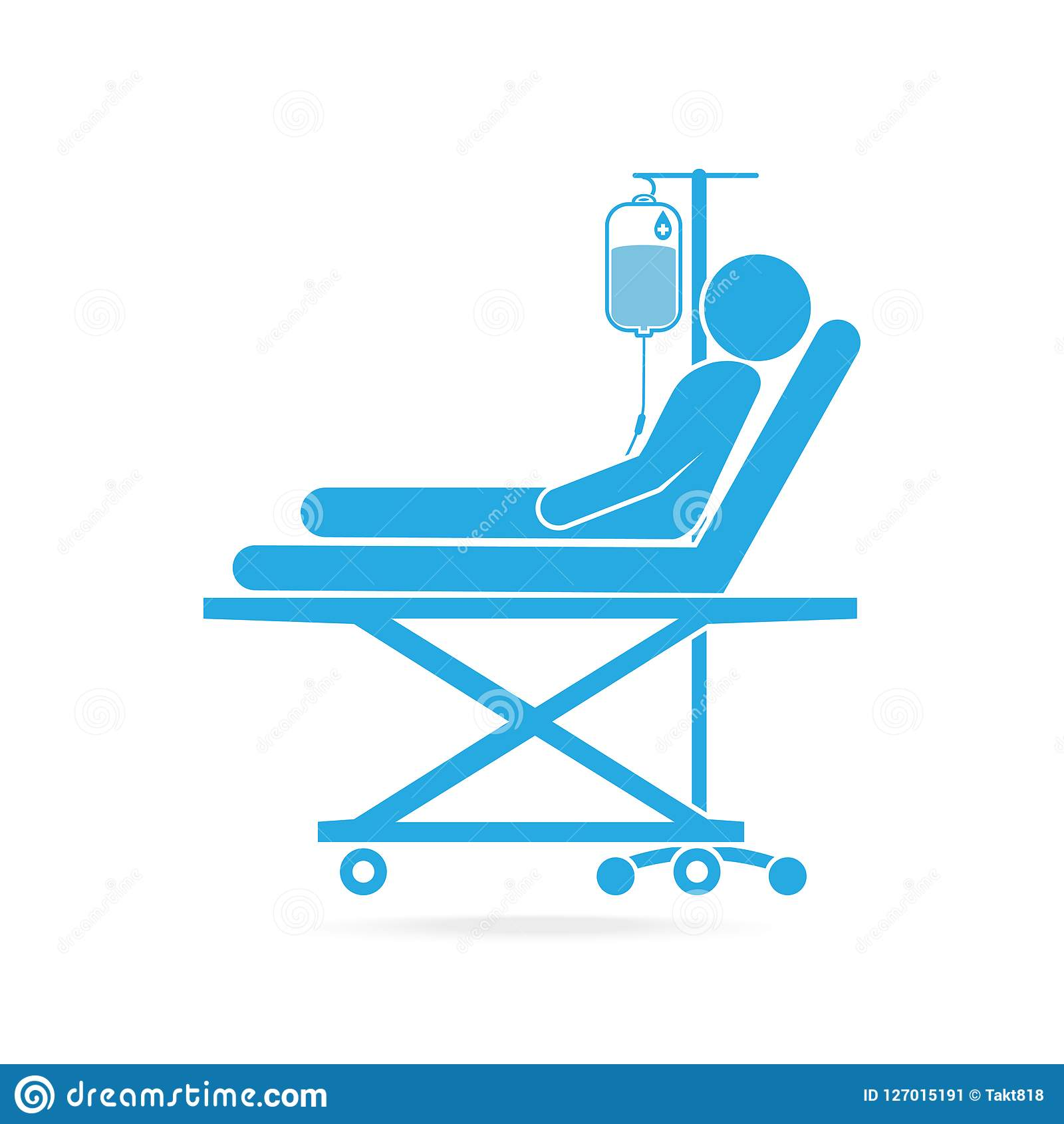 Patient lying in bed with a drop counter icon