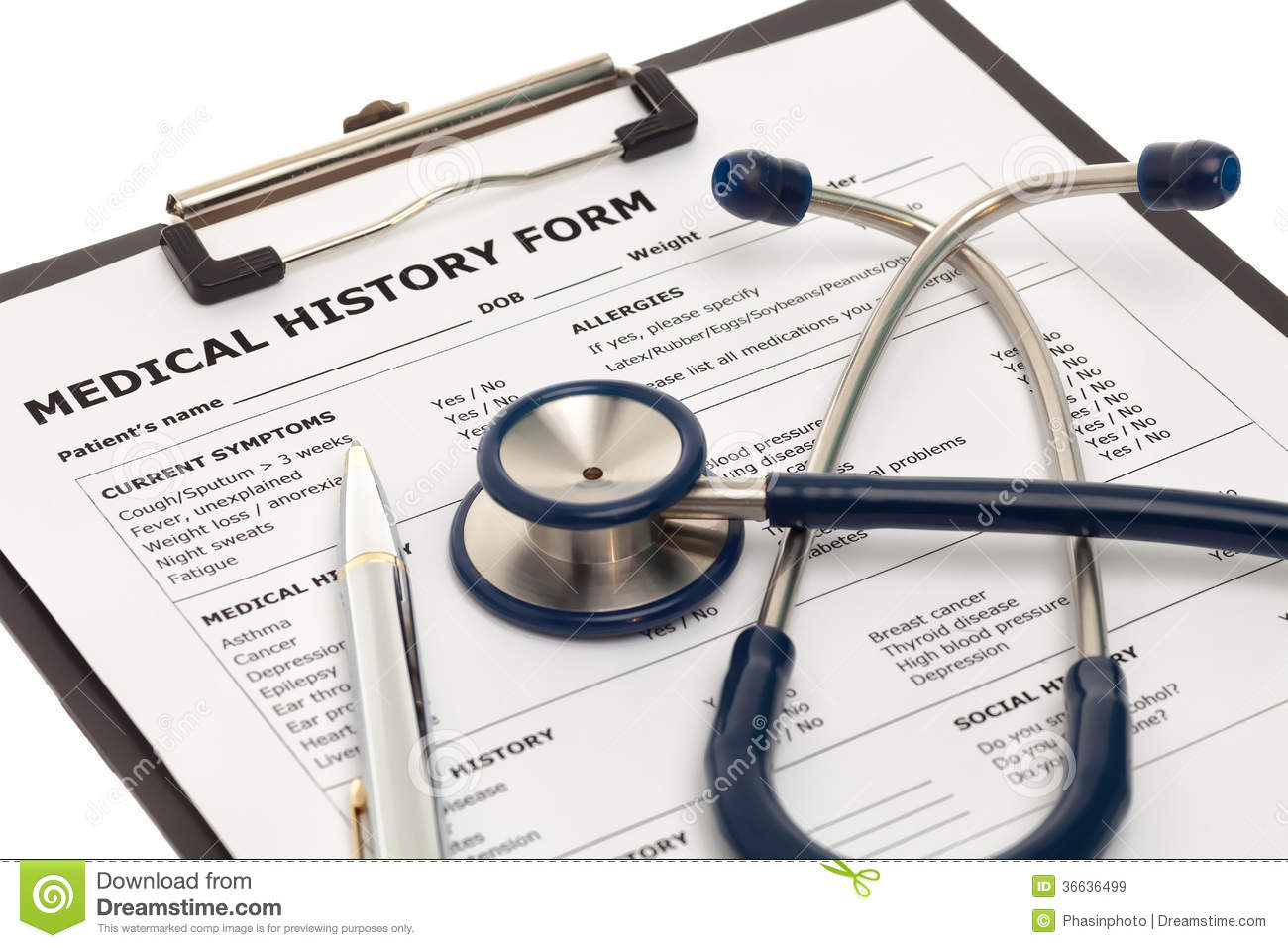 Patient Medical History Document Stock Image - Image: 36636499