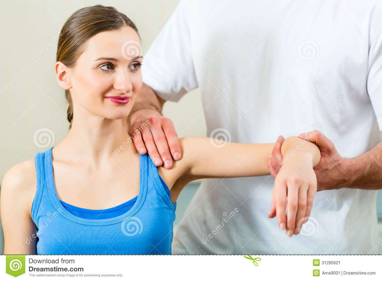 Patient At The Physiotherapy Doing Physical Therapy Stock ...