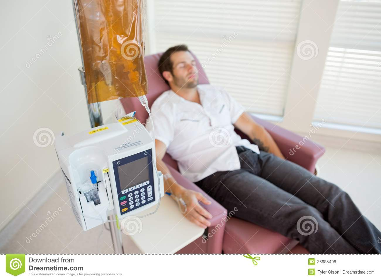 Patient Receiving Chemotherapy Through IV Drip