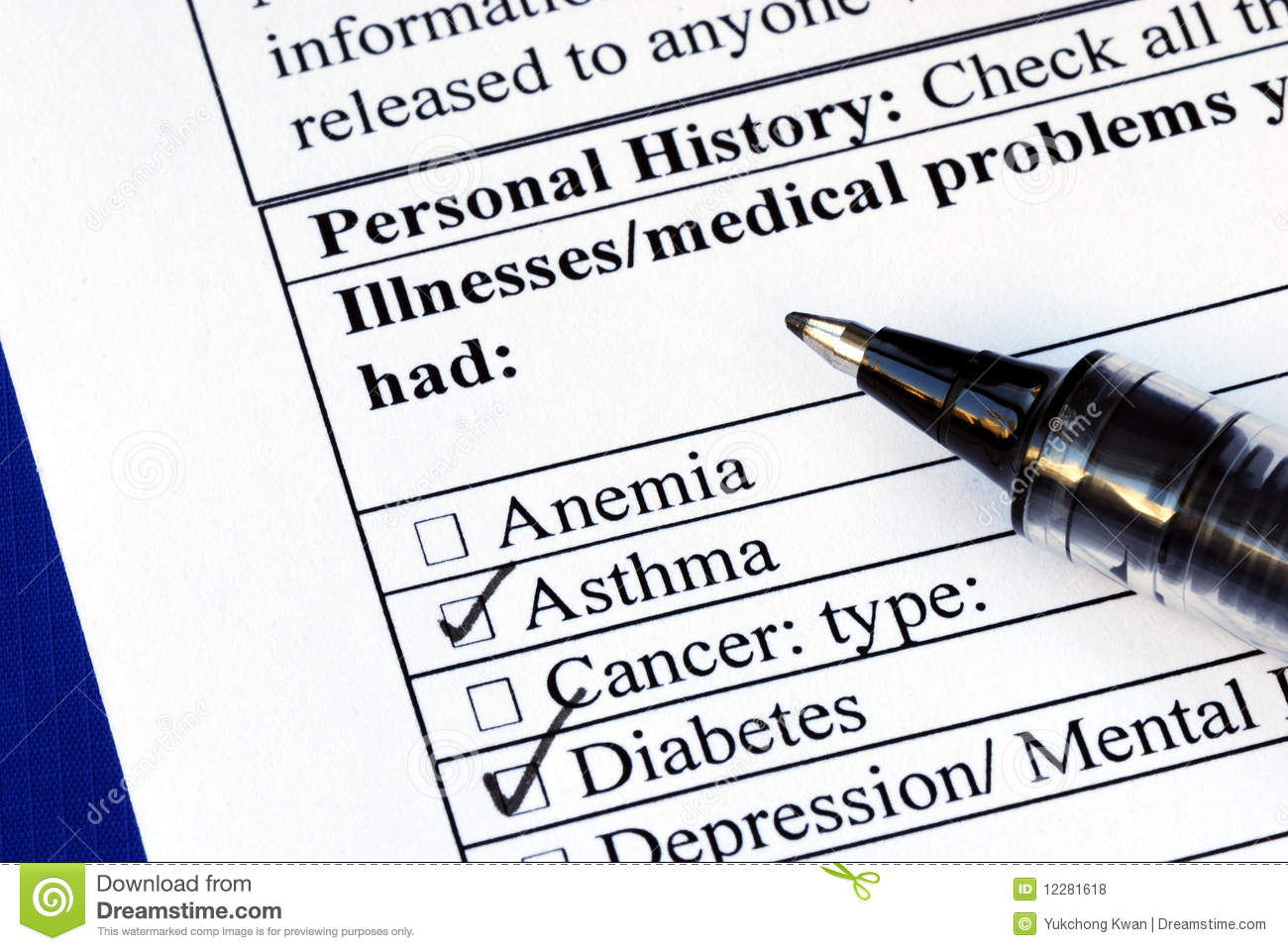 Patient selects the illness in the medical history