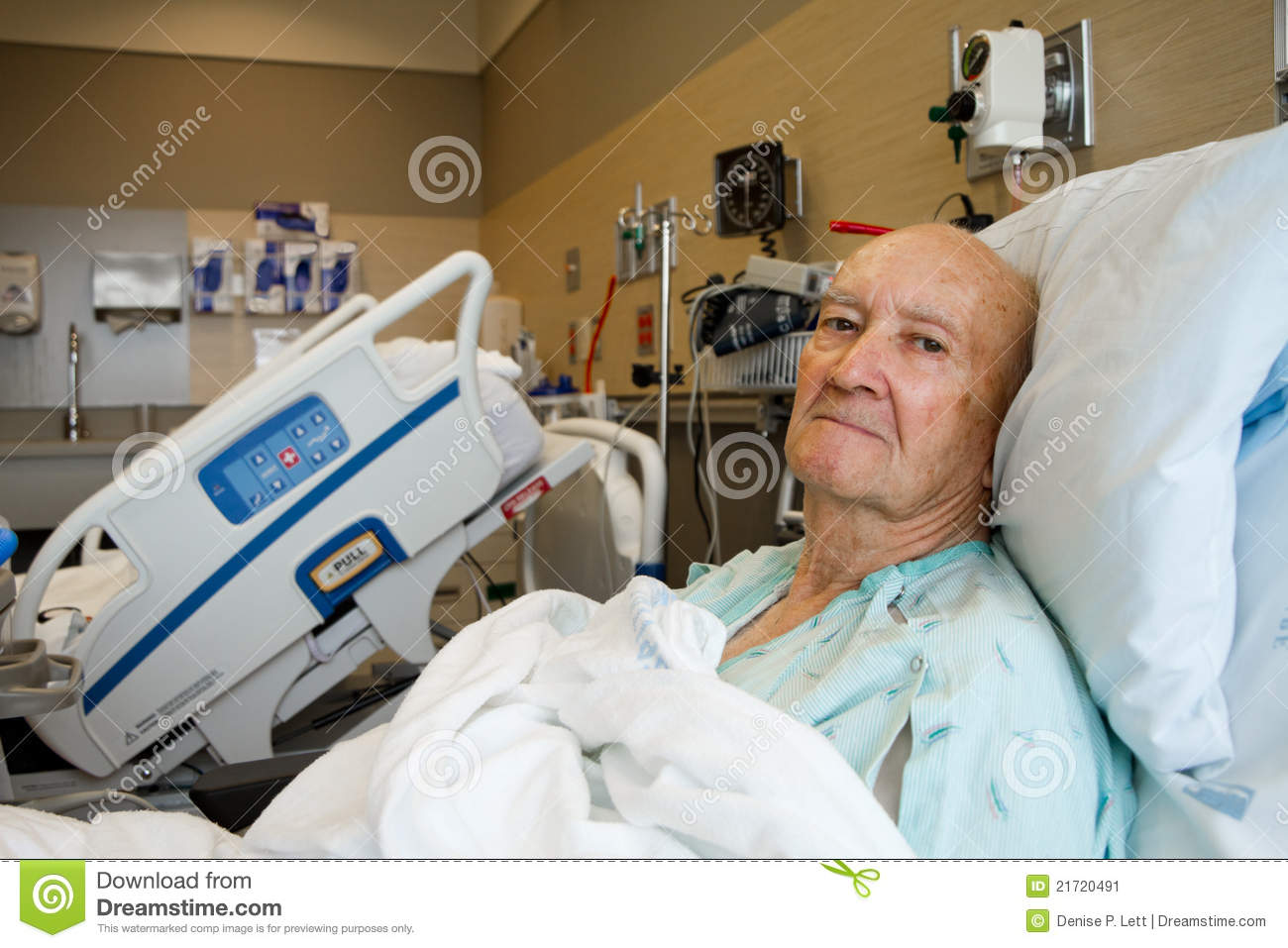 Sick Patient In Hospital Bed : male patient sitting up in a very modern hospital room. Hospital bed ...