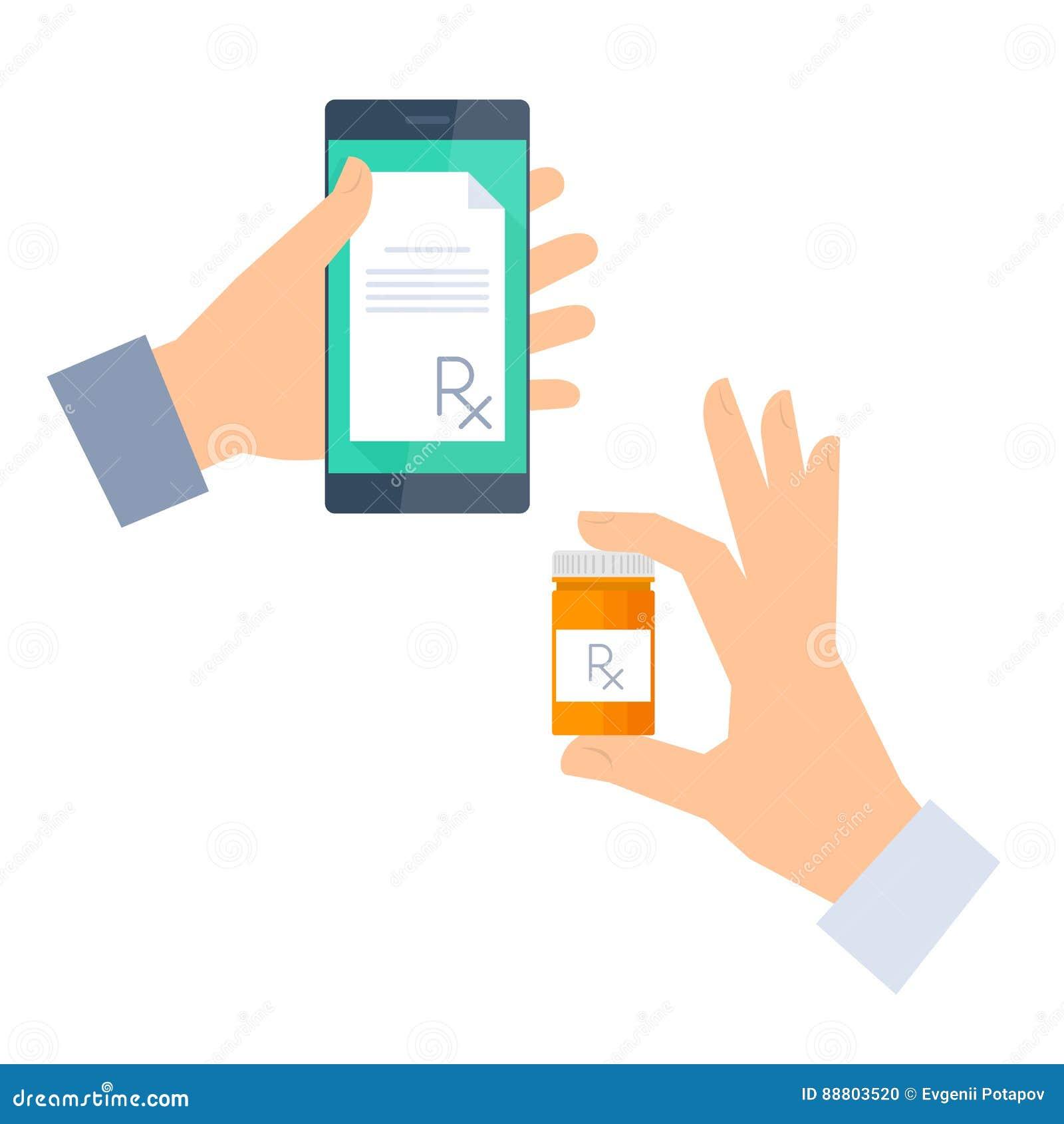 Patienten får receptet vid telefon- och buysdroger Telemedicine,