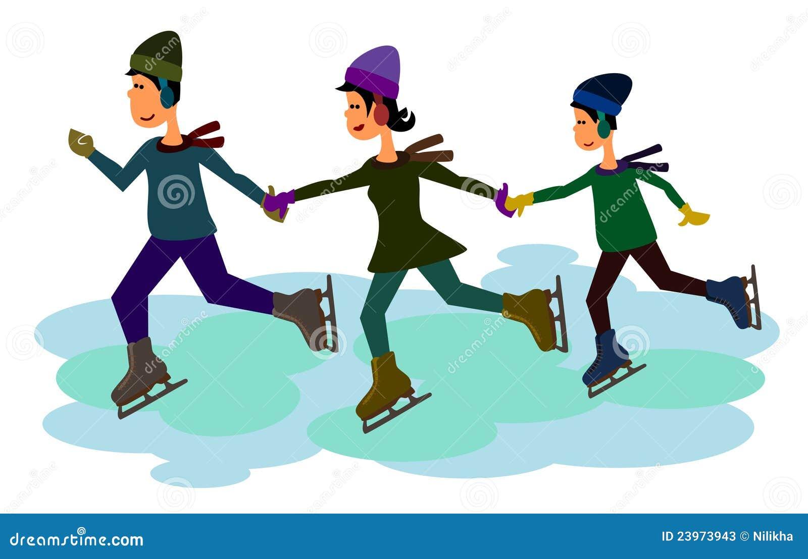 Patin de glace de famille illustration stock illustration for Patinage exterieur