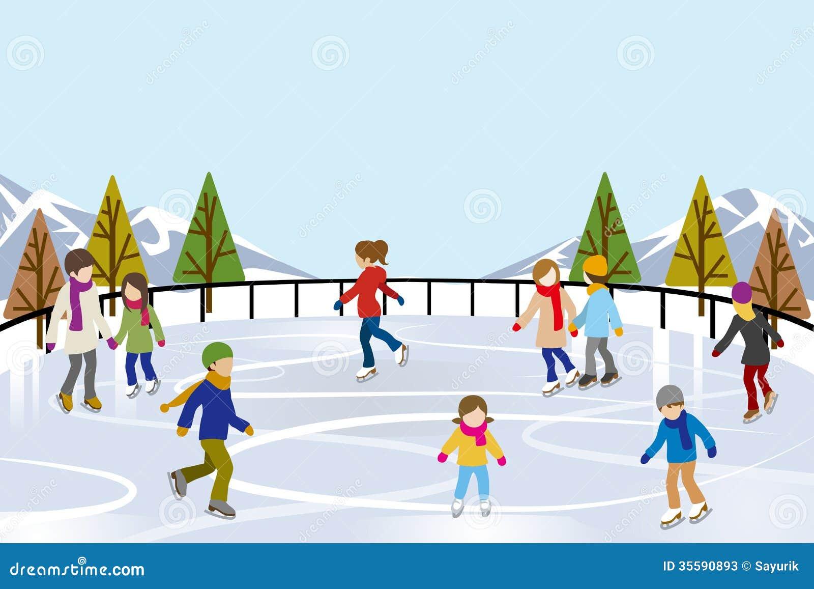 Patinage de glace de personnes dans la patinoire de nature for Patinage exterieur