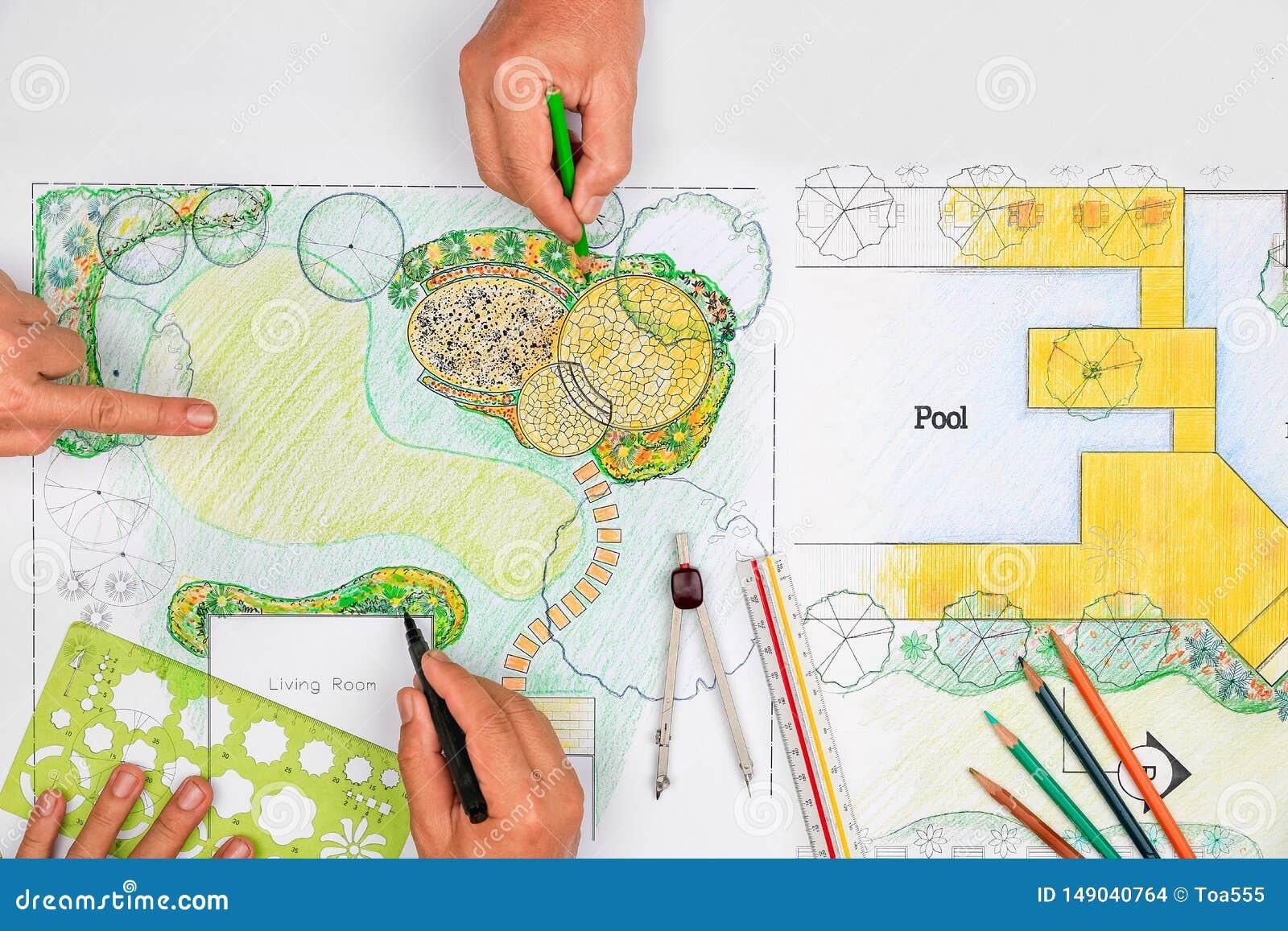 Patio πετρών σχεδίου αρχιτεκτόνων τοπίου στο σχέδιο κήπων κατωφλιών