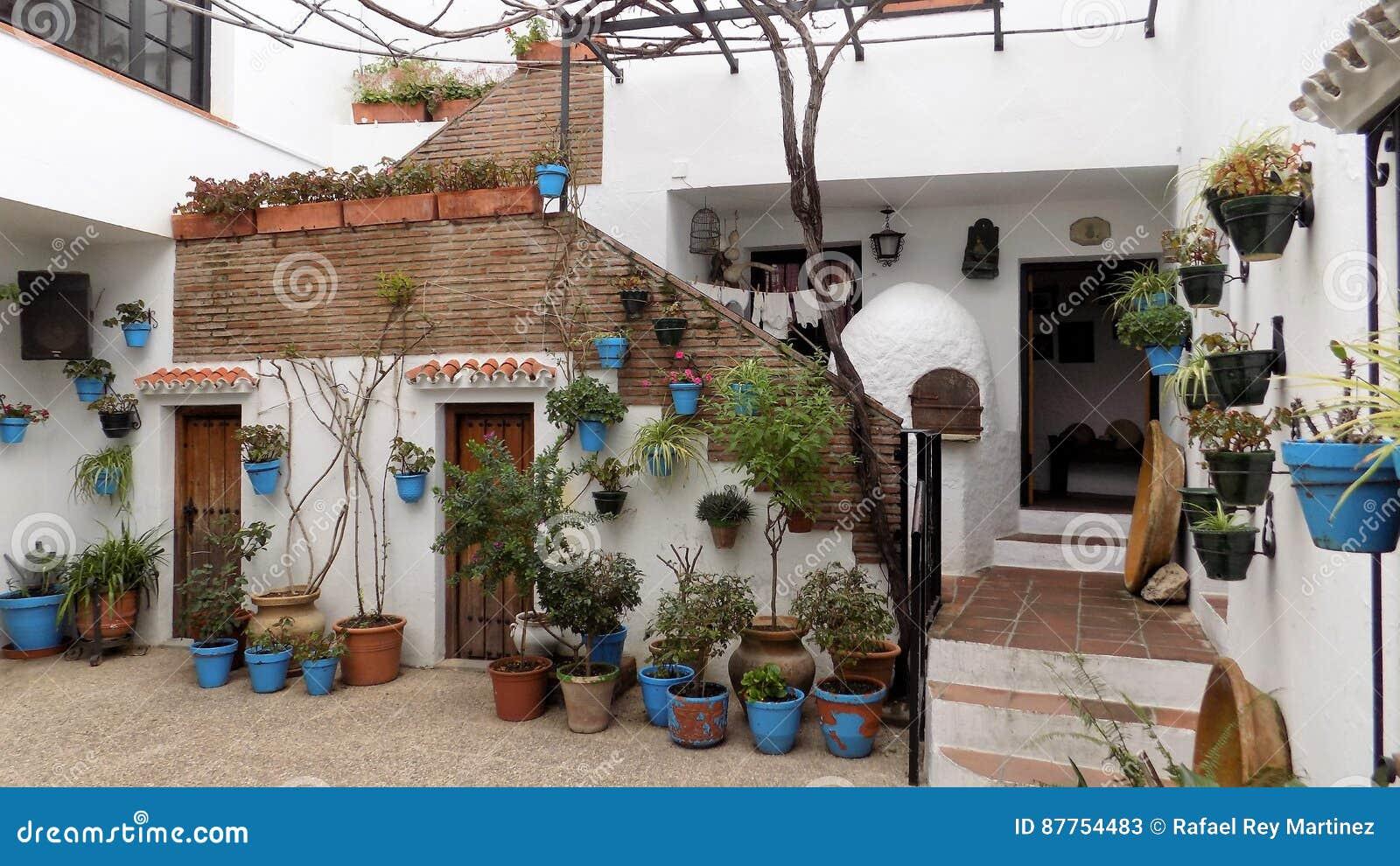 Patio Andaluz Mijas Malaga Andalusia Spain Europe Stock Image