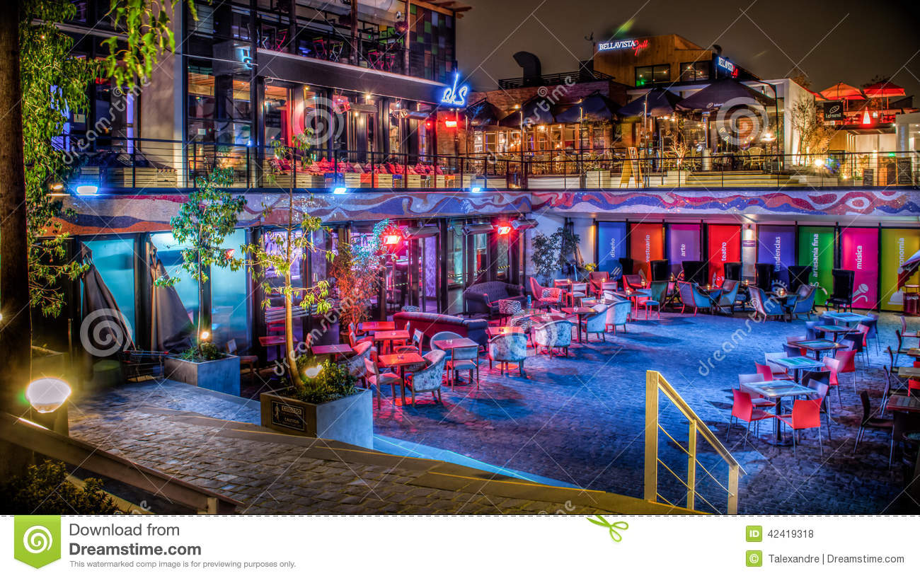 Patio bellavista in the night editorial stock photo for A good jewelry store