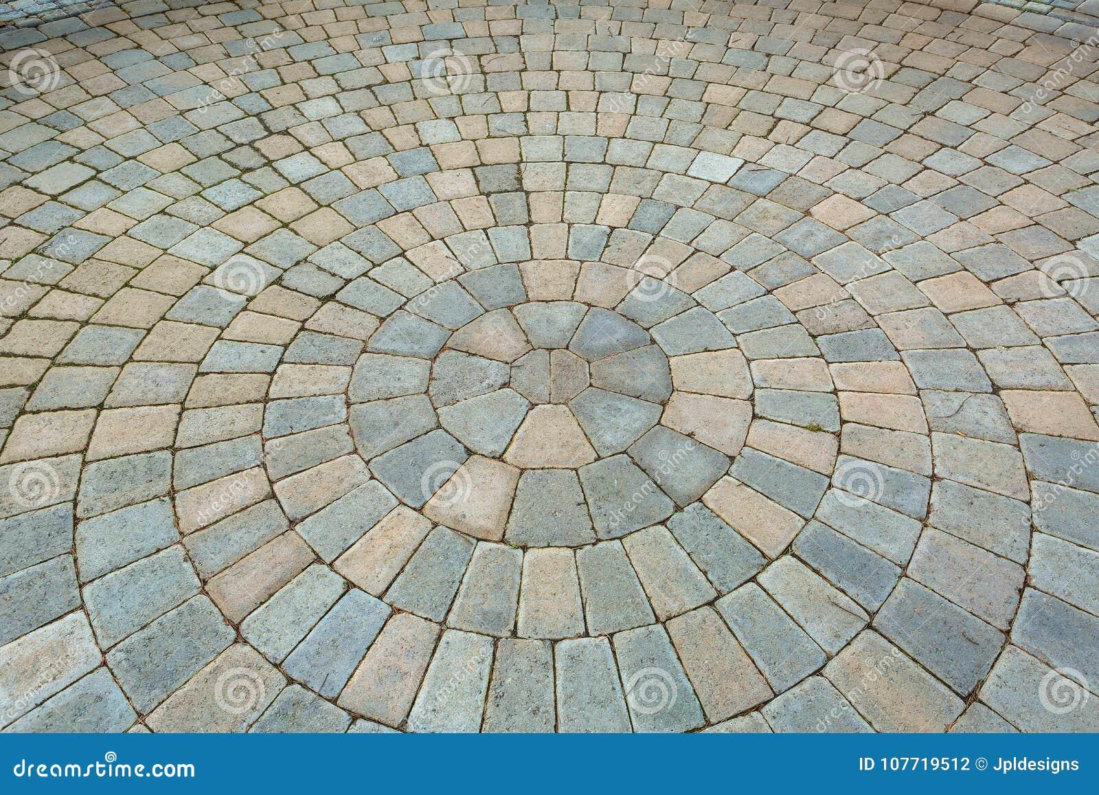 Patio circular del jardín del ladrillo del modelo