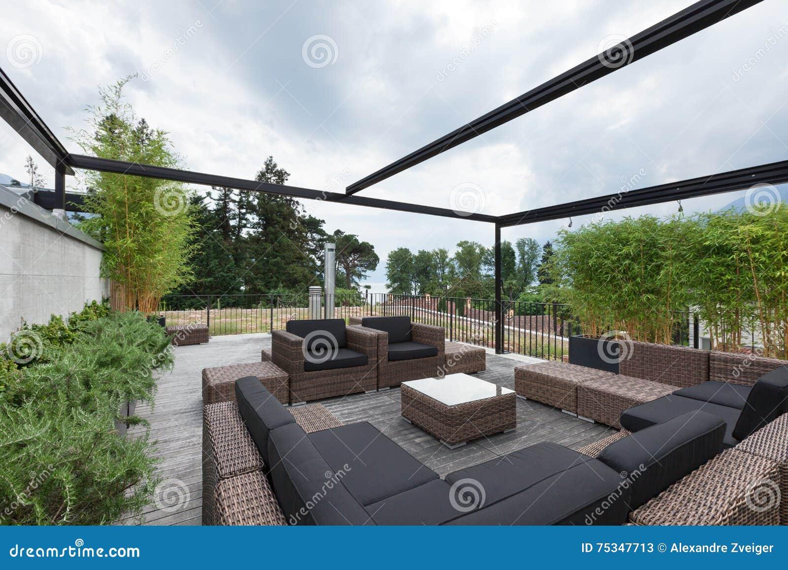 Patio With Comfortable Garden Furniture Stock Photo Image  75347713. Comfortable Garden Furniture   Zandalus net