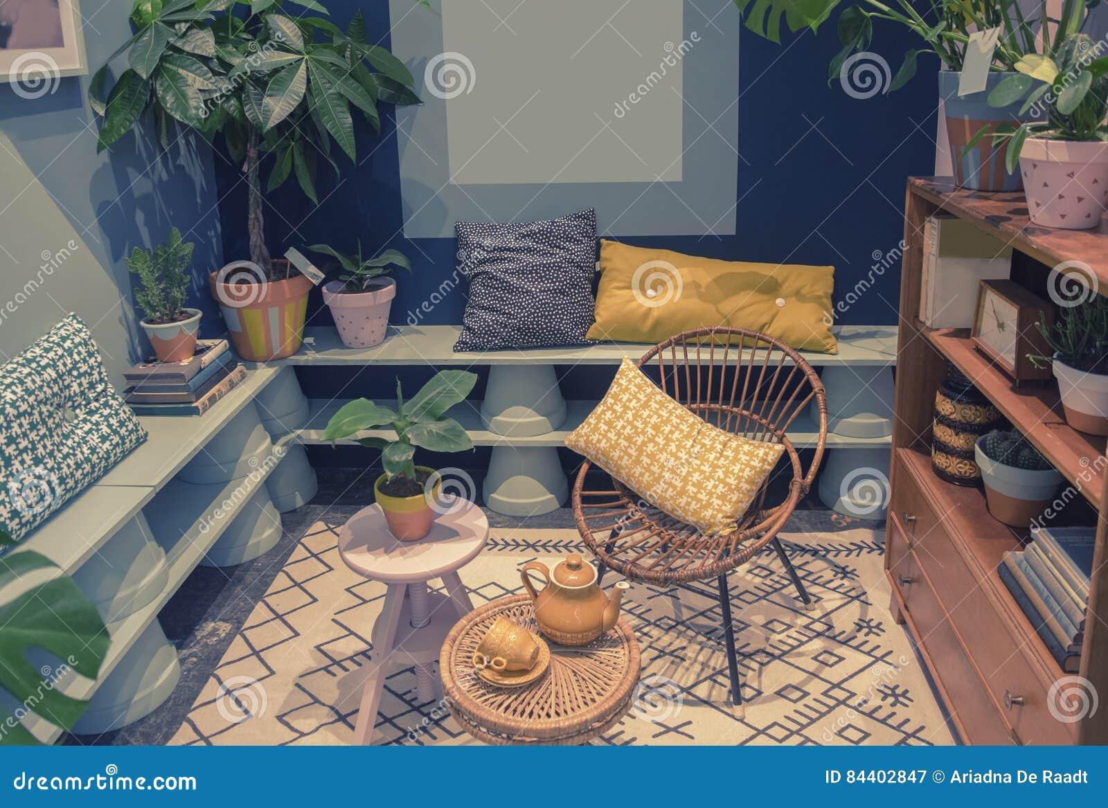 Patio domestico con gli oggetti domestici