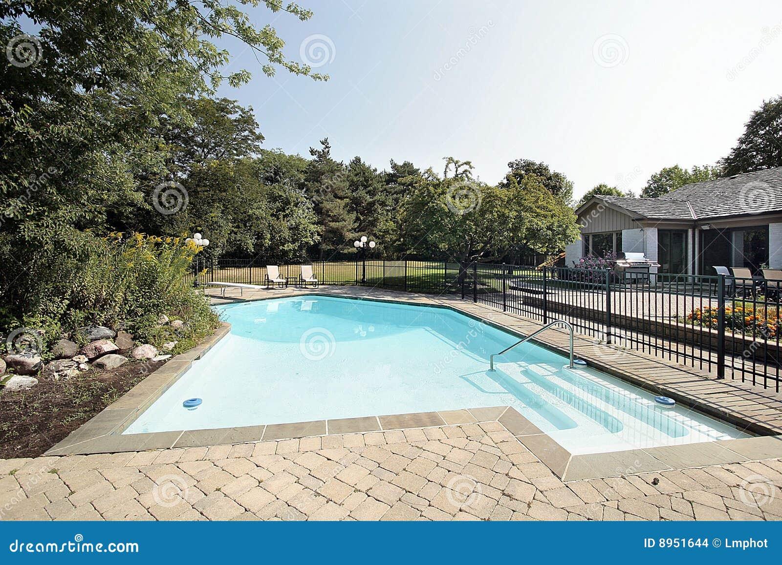 Patio e piscina del mattone fotografia stock immagine di for Piscina z