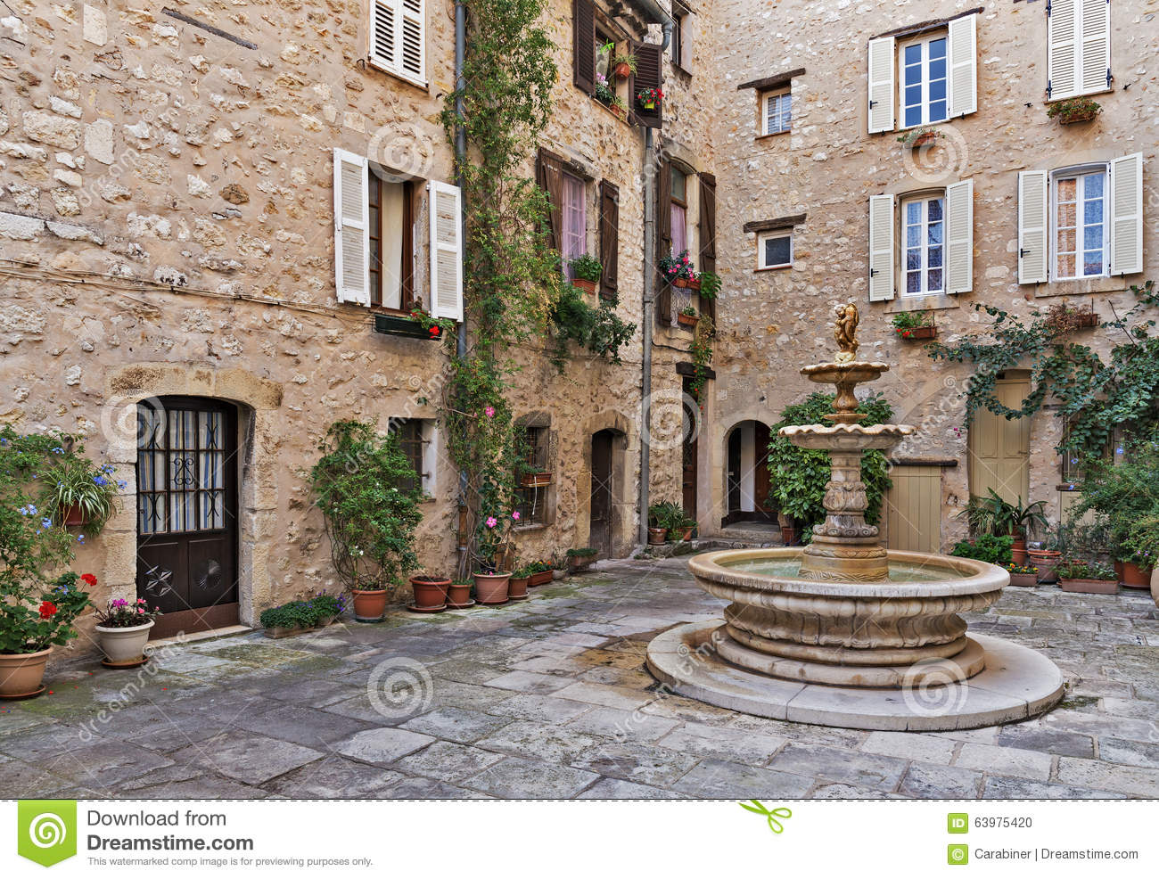 Patio With Fountain In The Old Village Tourrettes Sur Loup Stock