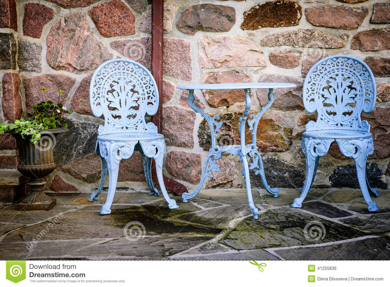 Patio furniture against stone wall stock photo image of patio cafe 41255836 - Painting exterior metal collection ...