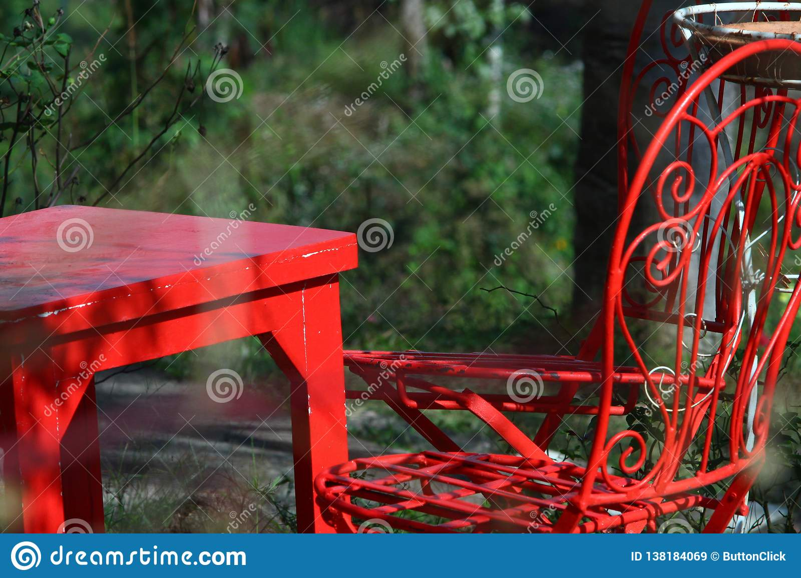 https www dreamstime com patio furniture vintage red chair table green background patio furniture vintage red chair table green background old fashioned image138184069