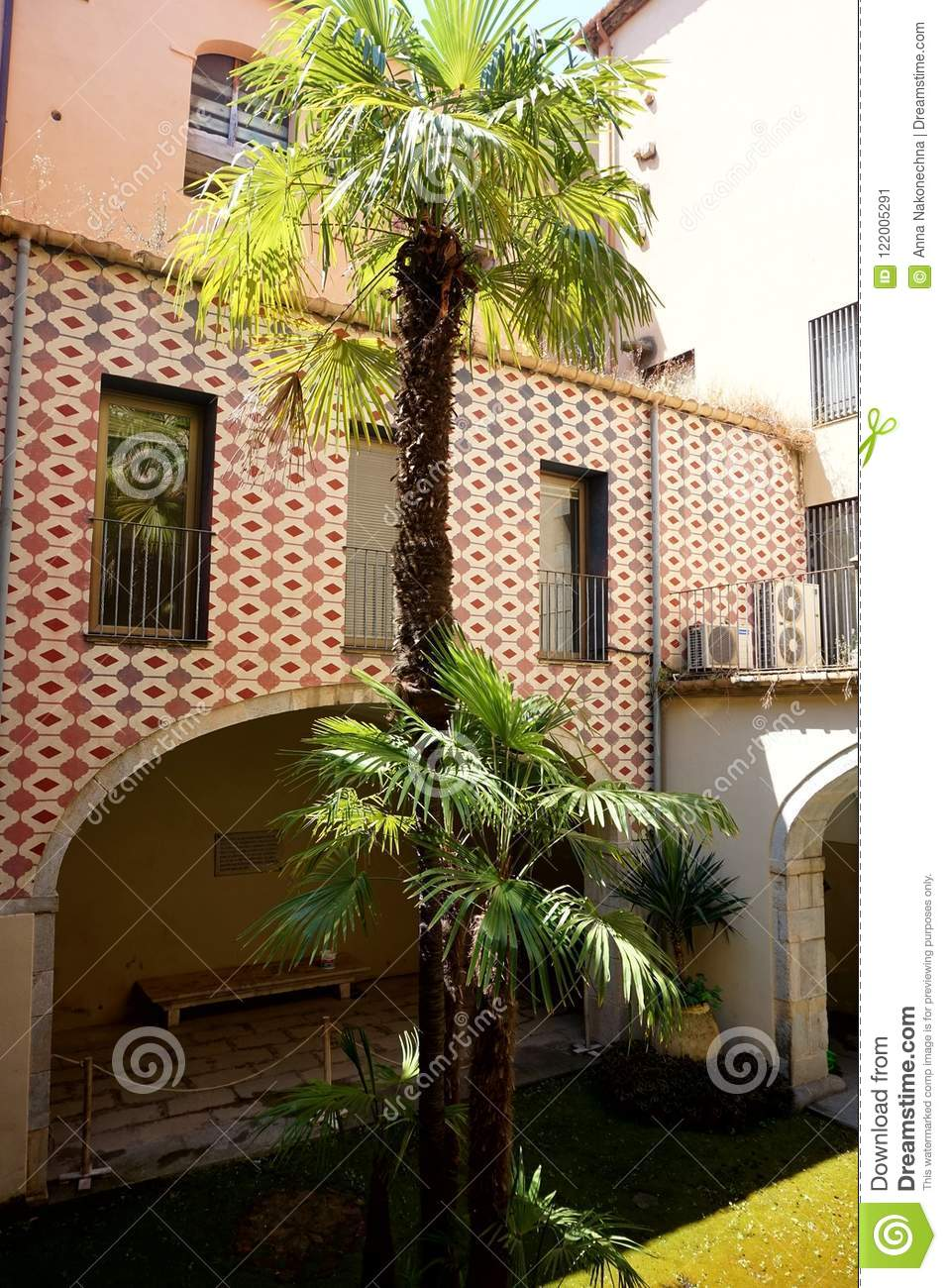 Patio With The Growing Palm Trees Of The Spanish House.