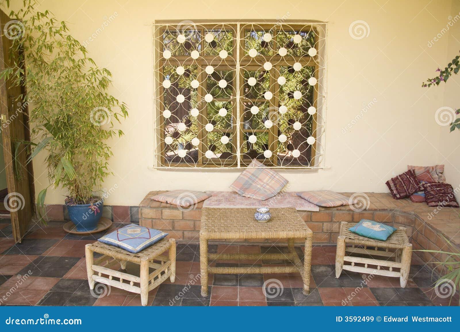 Patio Marocain à La Maison De Zone Image Stock Image Du Osier