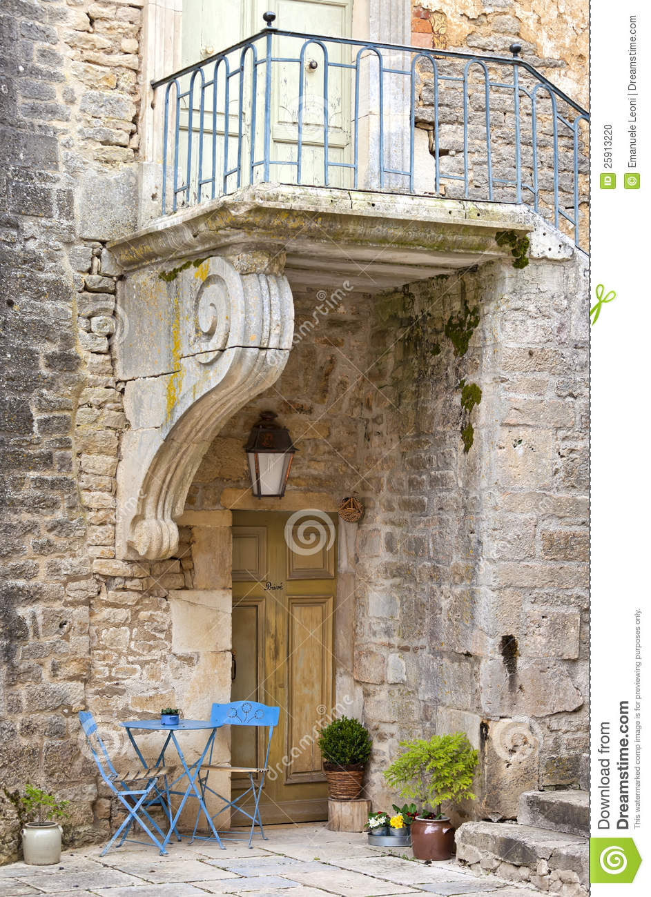 Patio Among Medieval Walls In Chateauneuf Castle Stock ...