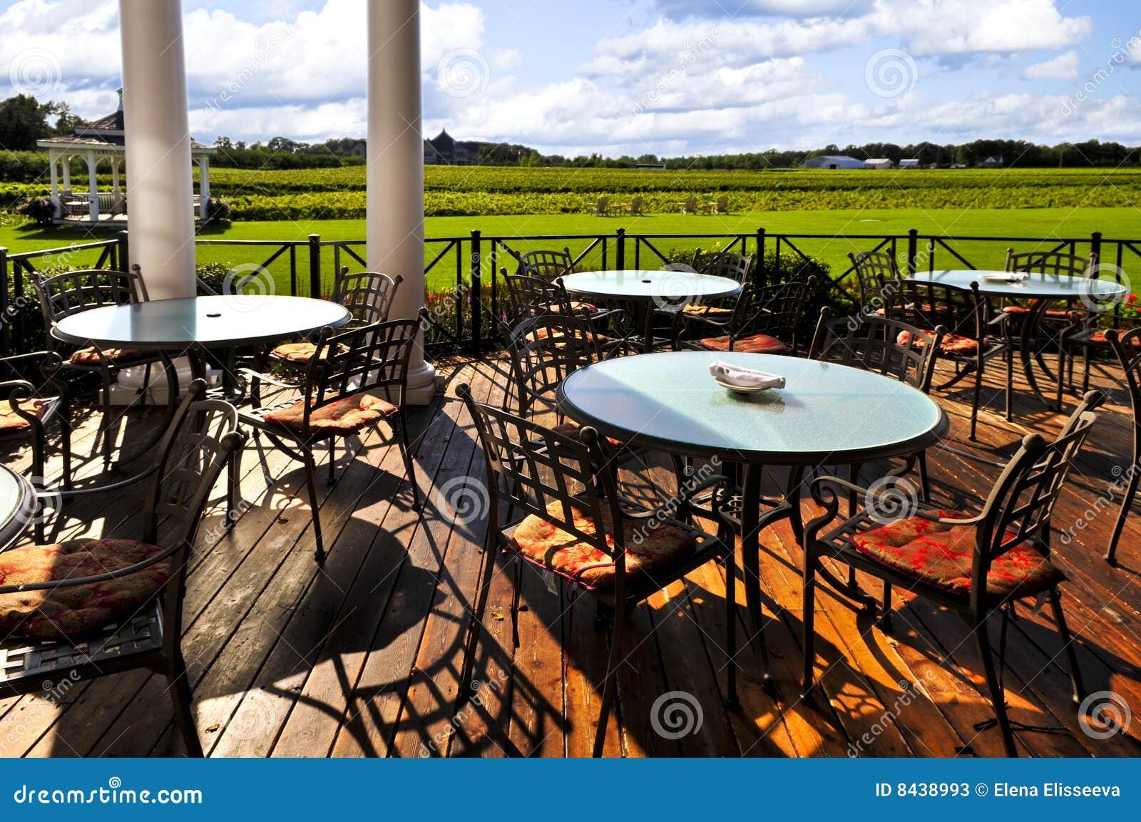 Patio overlooking vineyard