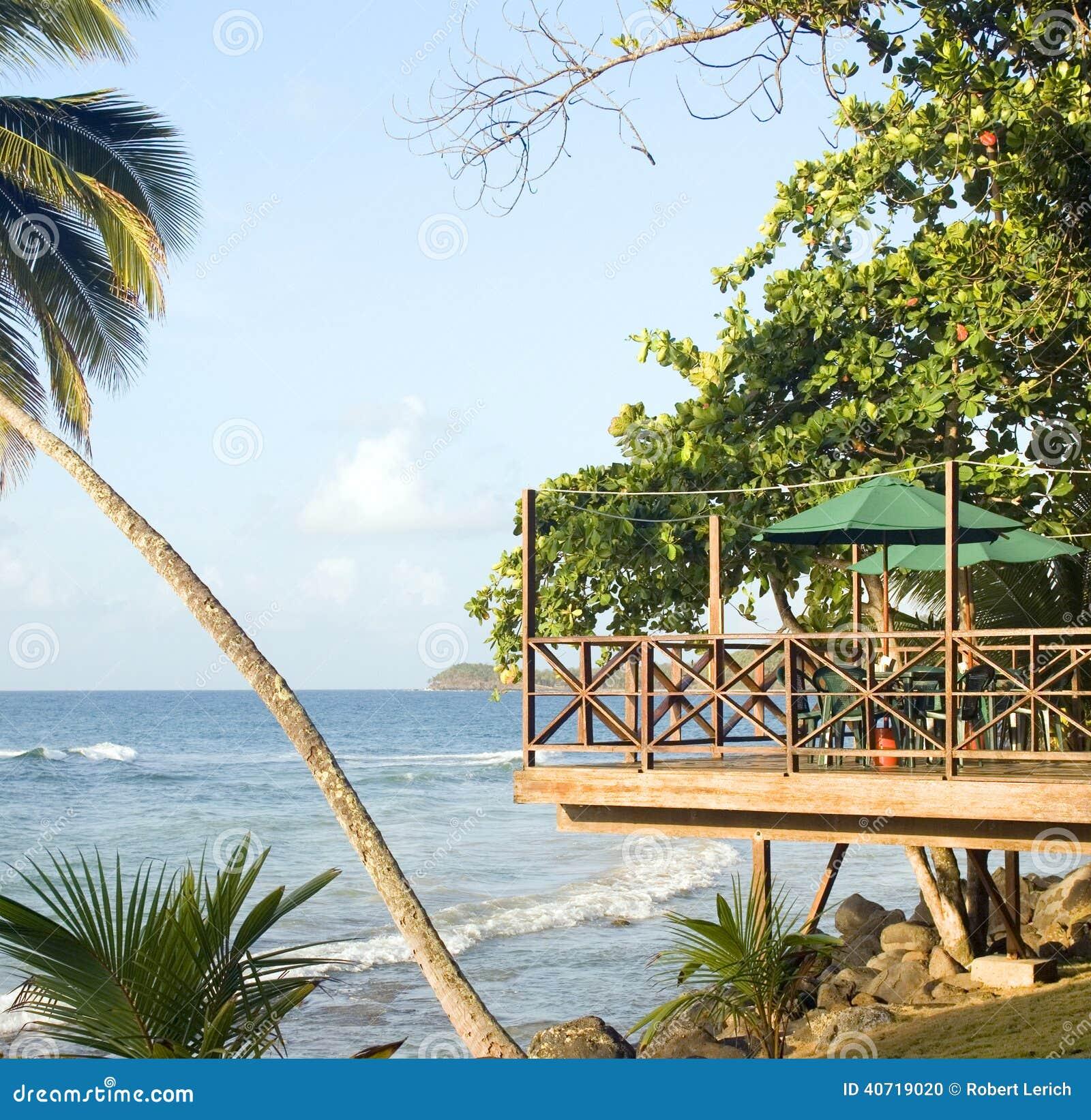 patio restaurant bar over caribbean sea resort big stock. Black Bedroom Furniture Sets. Home Design Ideas