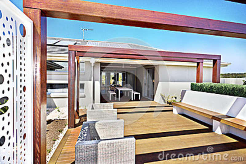 Patio Seating Area Of A Modern House With A Floor Stock