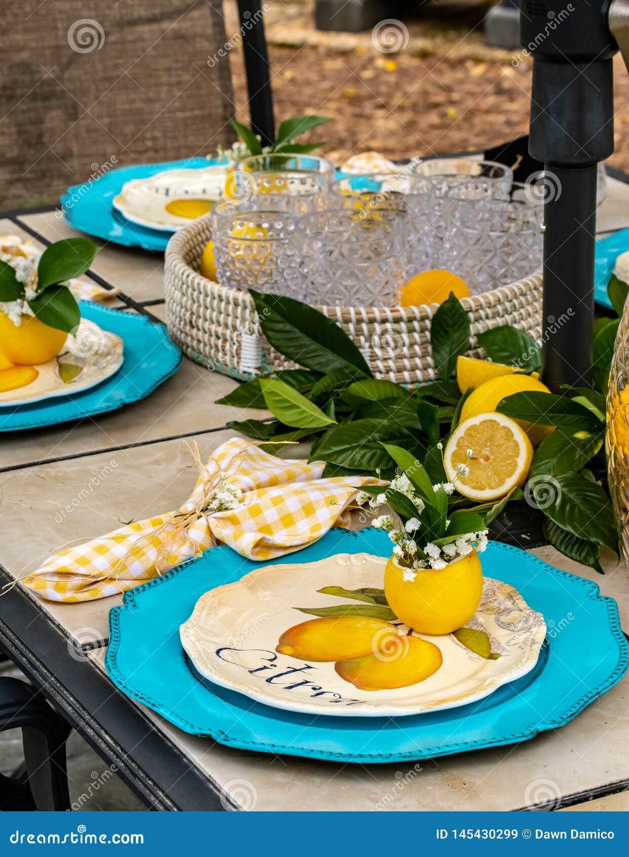 Patio-Speisen im Freien: Festliches und buntes Geschirr in der Knickente und in Zitrone - gelb - Vertikale