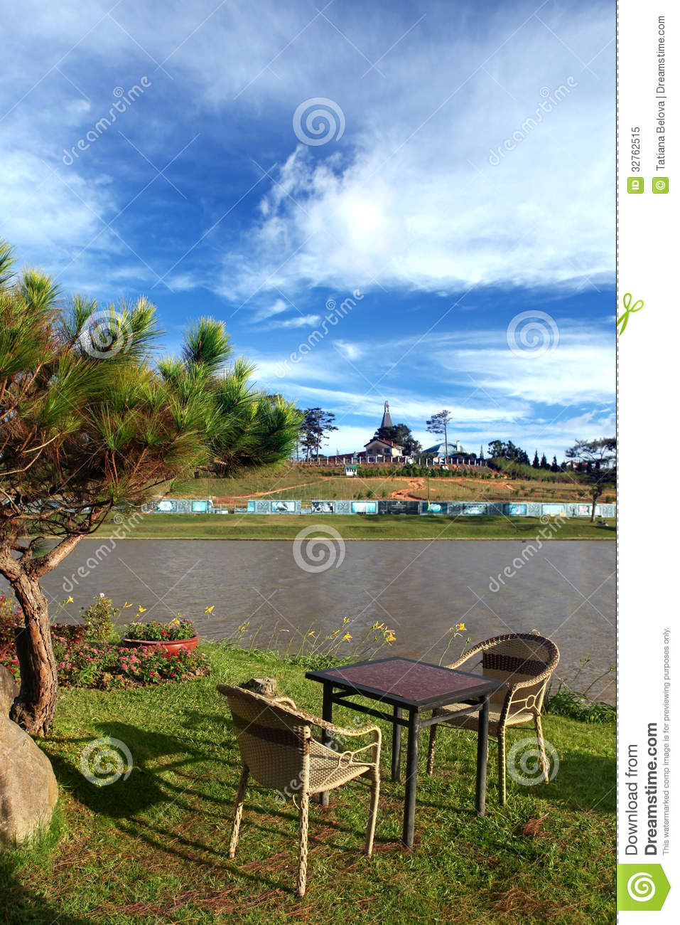 Patio Table And Chairs In City Park Royalty Free Stock