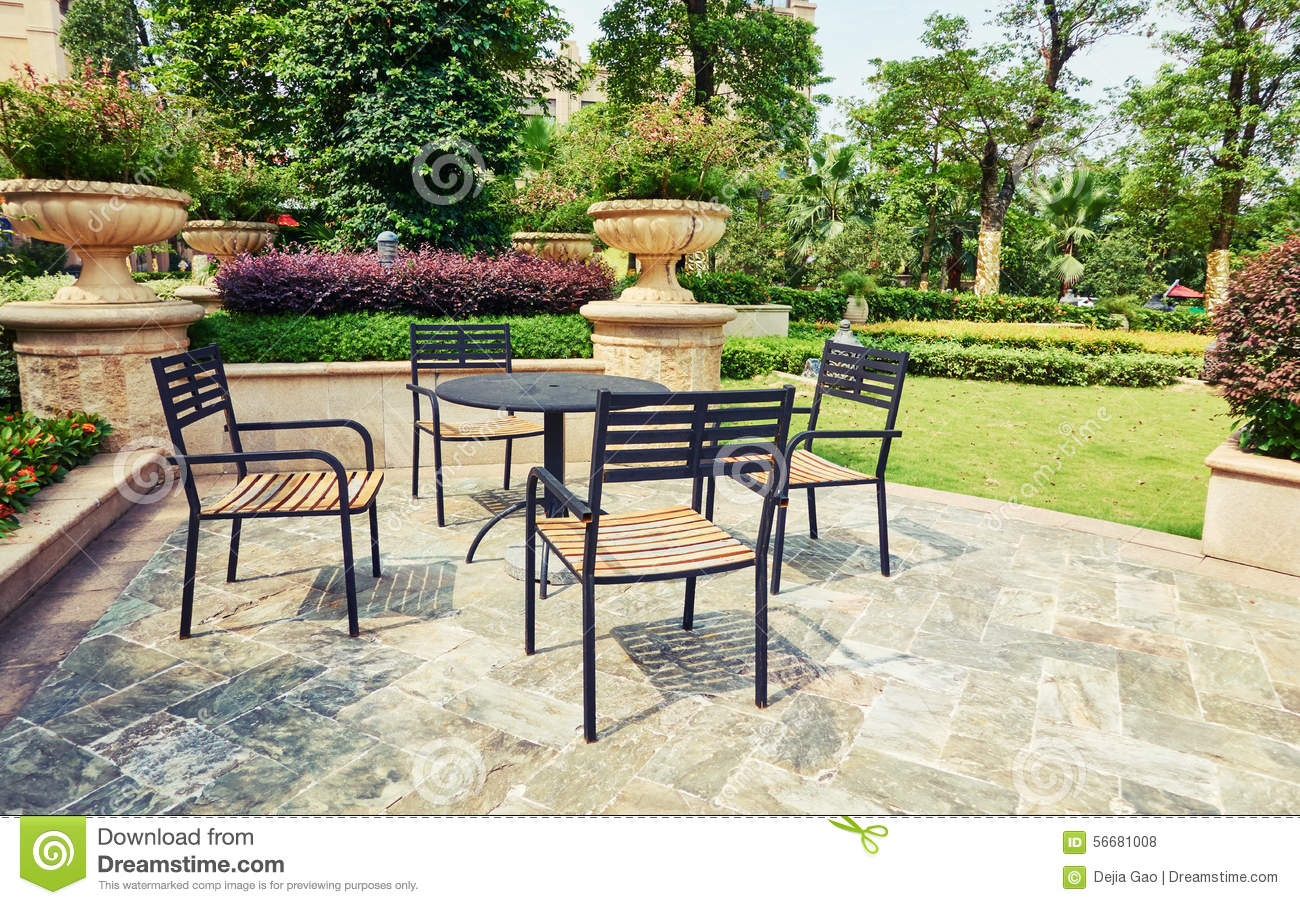 outdoor backyard patio in landscaping garden with furniture