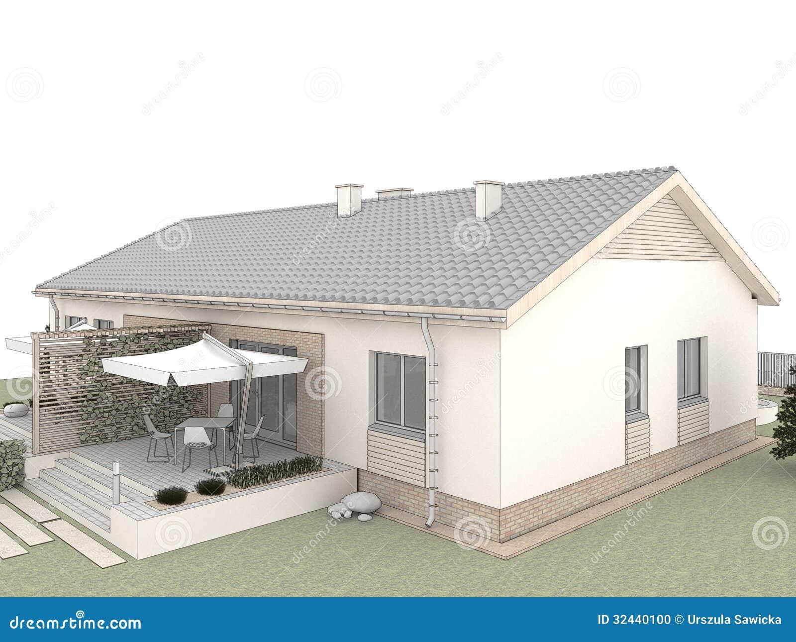 Patio Trasero De La Casa Clásica Con La Terraza Stock De