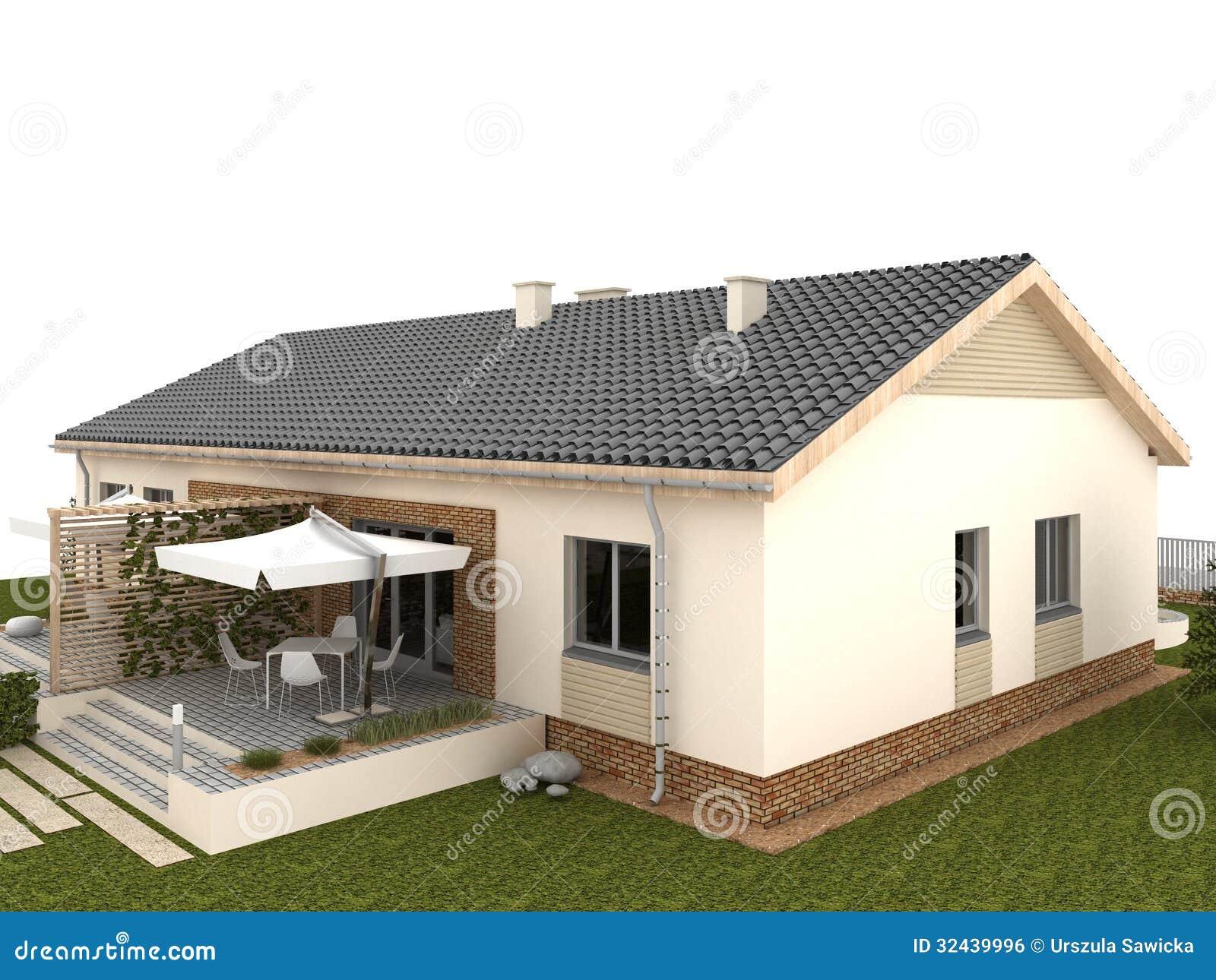 Patio Trasero De La Casa Clásica Con La Terraza Y El Jardín