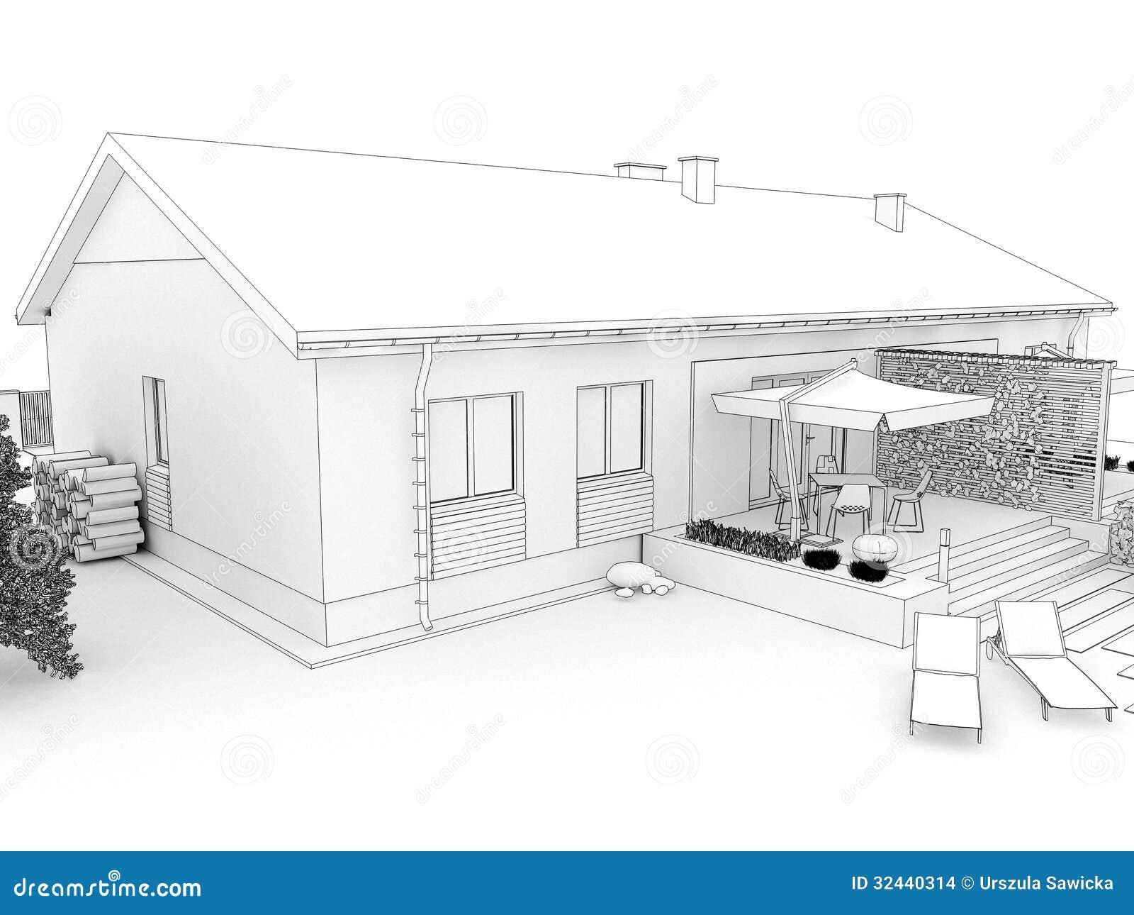 Patio Trasero De La Casa Moderna Con La Terraza Stock De