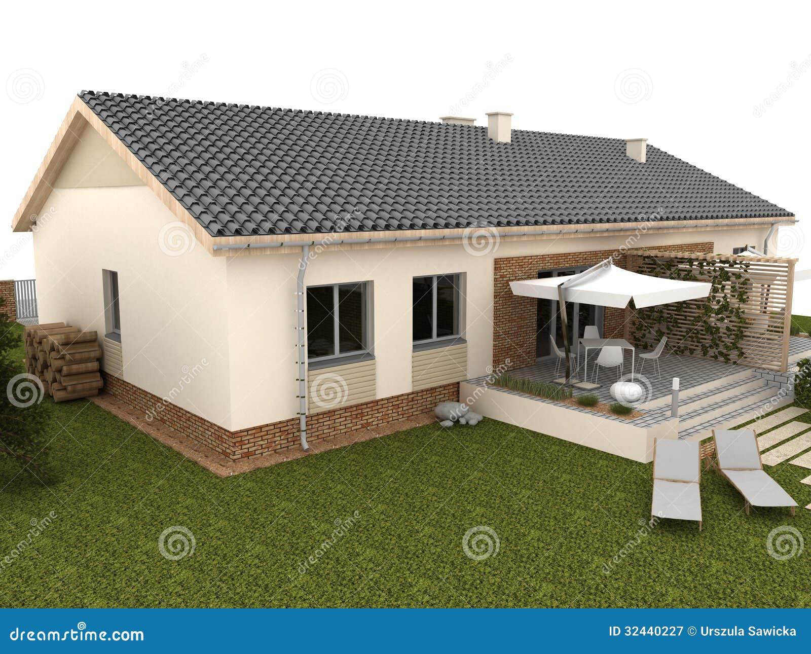 Patio Trasero De La Casa Moderna Con La Terraza Y El Jardin Stock De