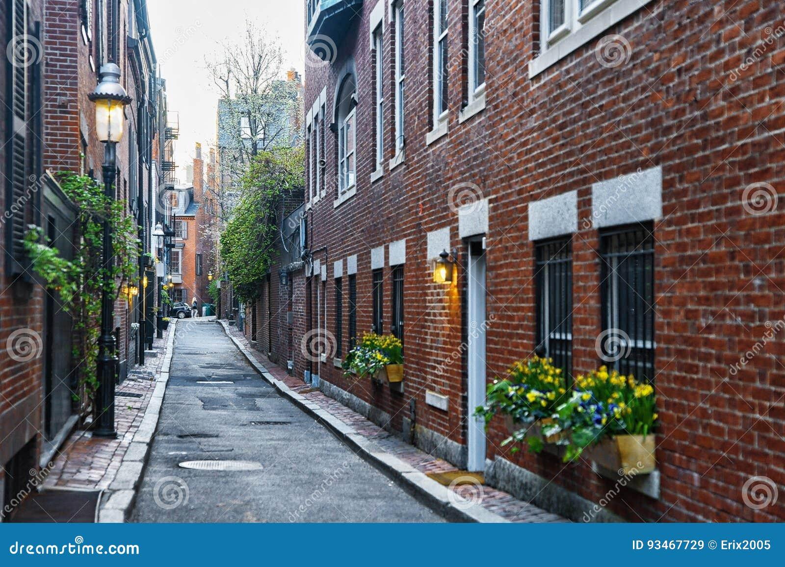 Patio trasero en la vecindad de Beacon Hill en Boston céntrica mA