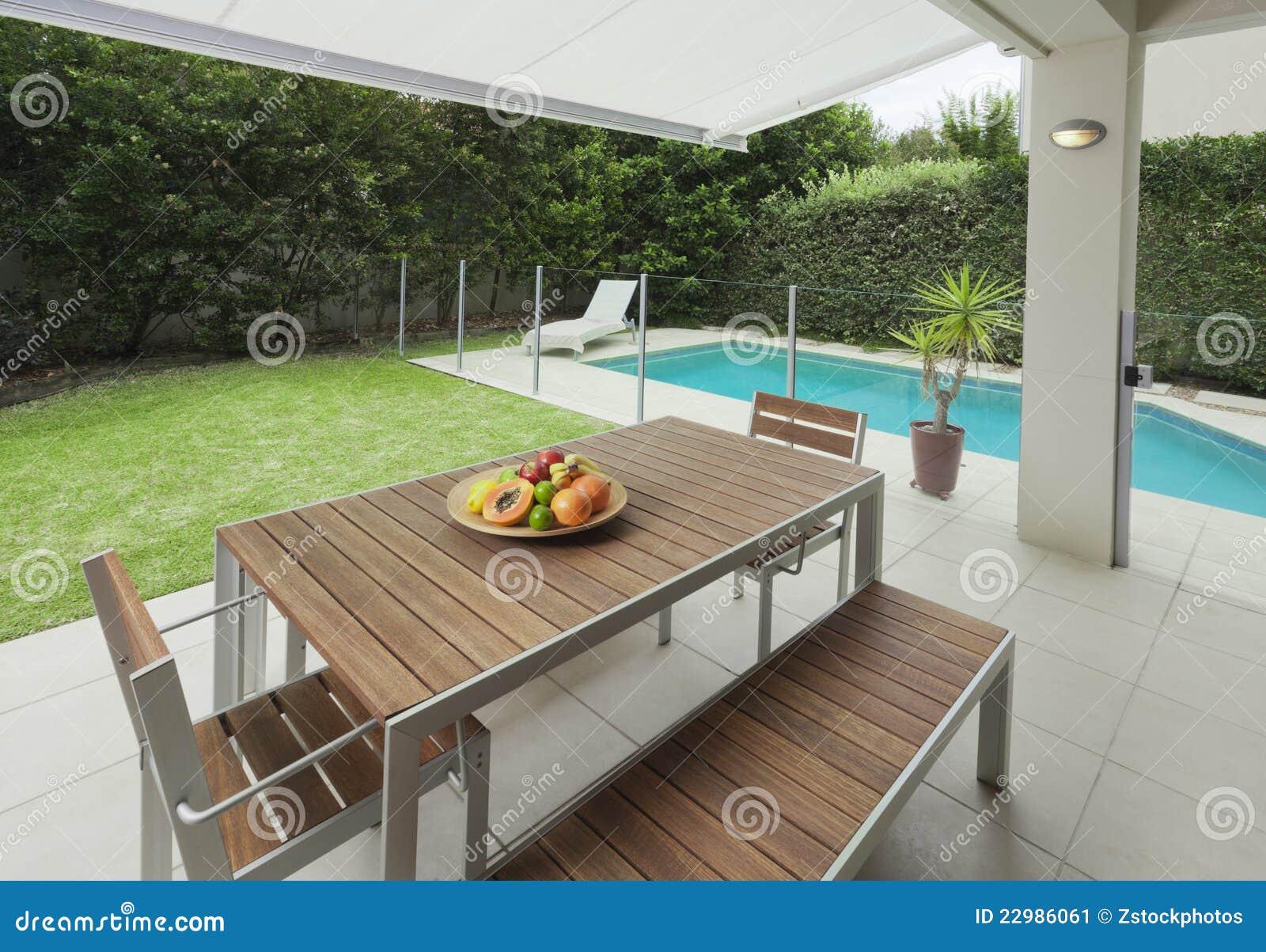 Patio trasero moderno imagen de archivo imagen 22986061 for Patios modernos con piscina