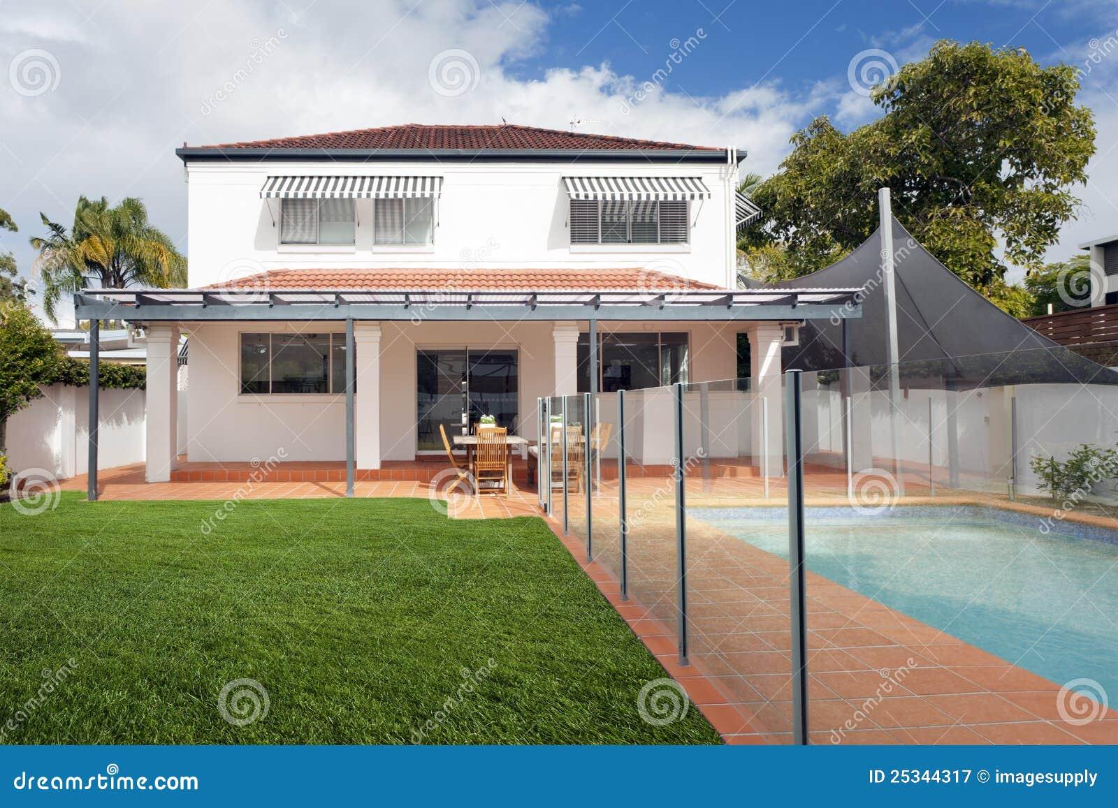 Patio trasero moderno con la piscina fotograf a de archivo for Patios modernos con piscina